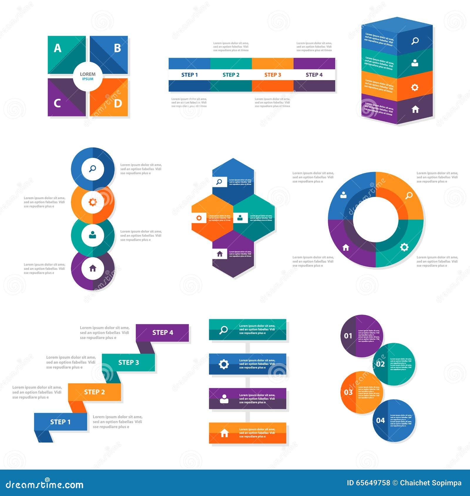 La conception plate d Infographic d éléments de calibres colorés de présentation a placé pour le marketing de tract d insecte de