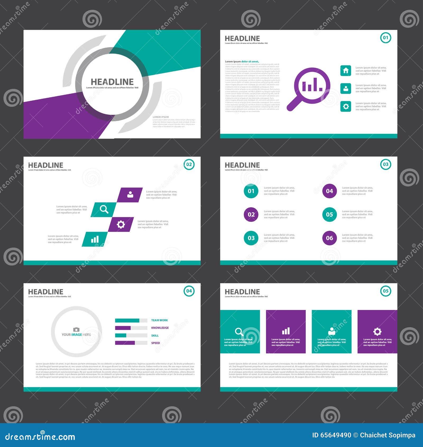 La conception plate de présentation de calibres d éléments verts pourpres d Infographic a placé pour le marketing de tract d inse