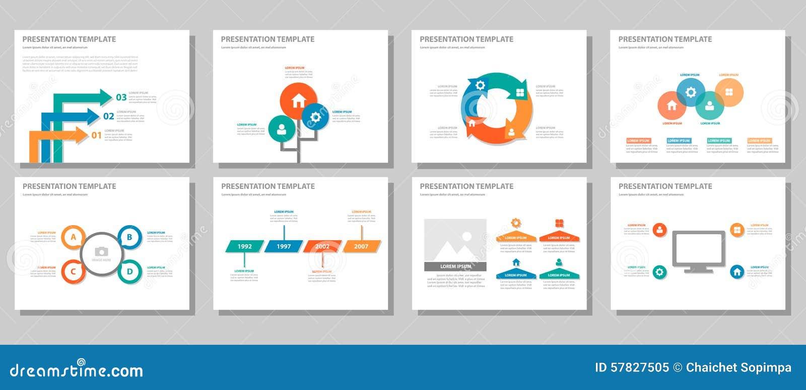 La conception plate infographic universelle orange vert-bleu rouge de présentation et d élément a placé 2