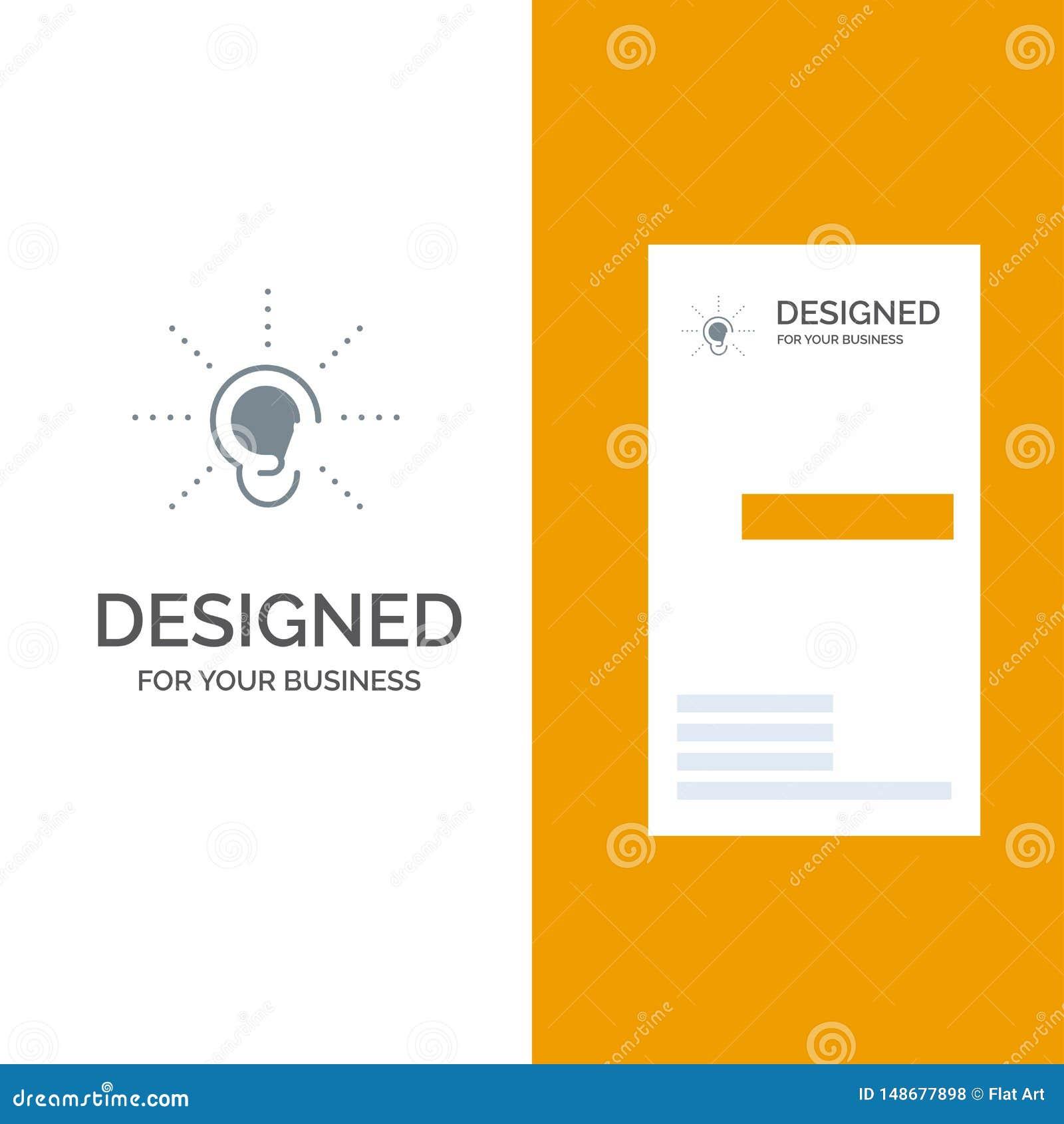 La conciencia, oído, oye, audiencia, escucha Grey Logo Design y plantilla de la tarjeta de visita