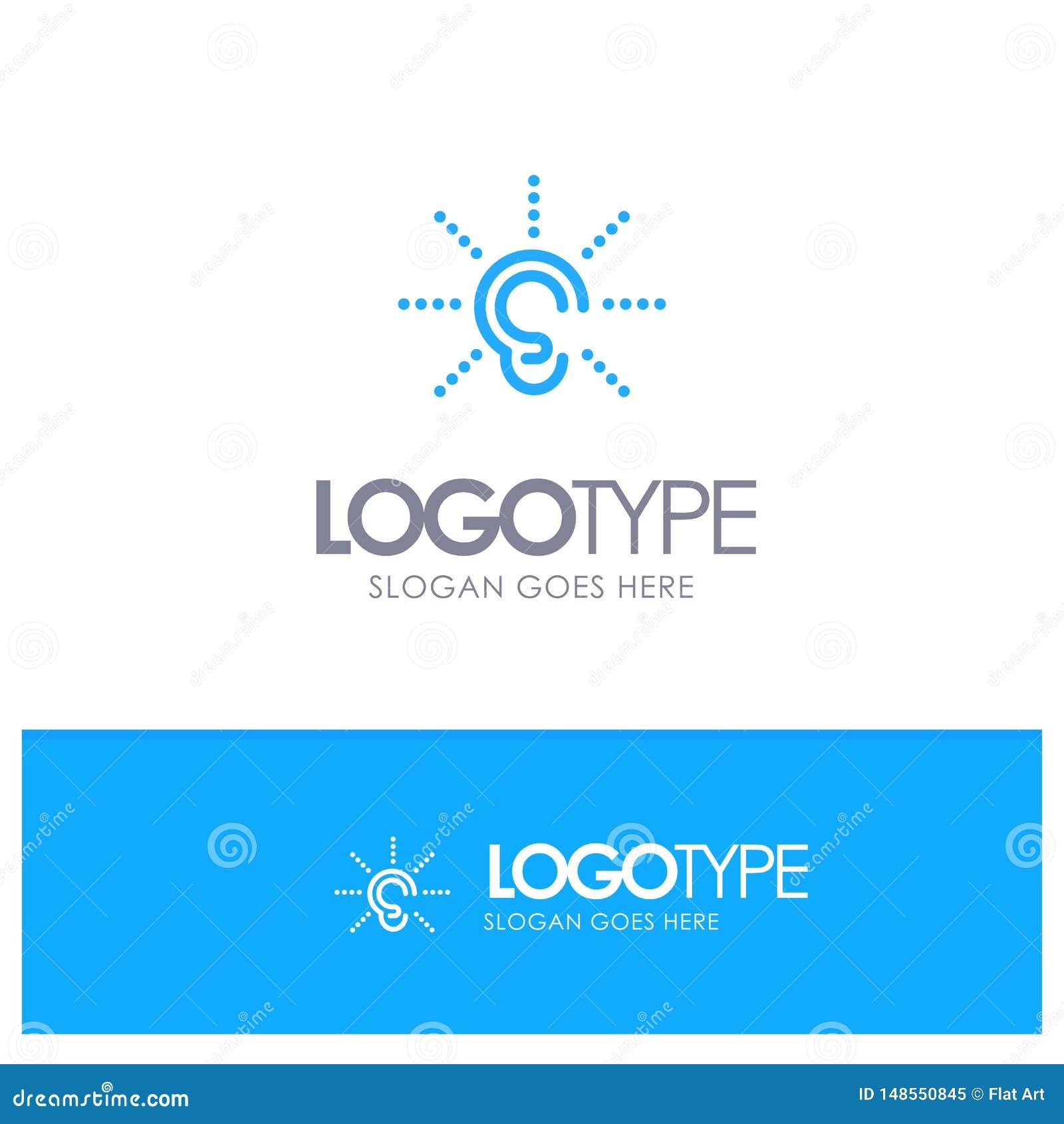La conciencia, oído, oye, audiencia, escucha logotipo azul del esquema con el lugar tagline