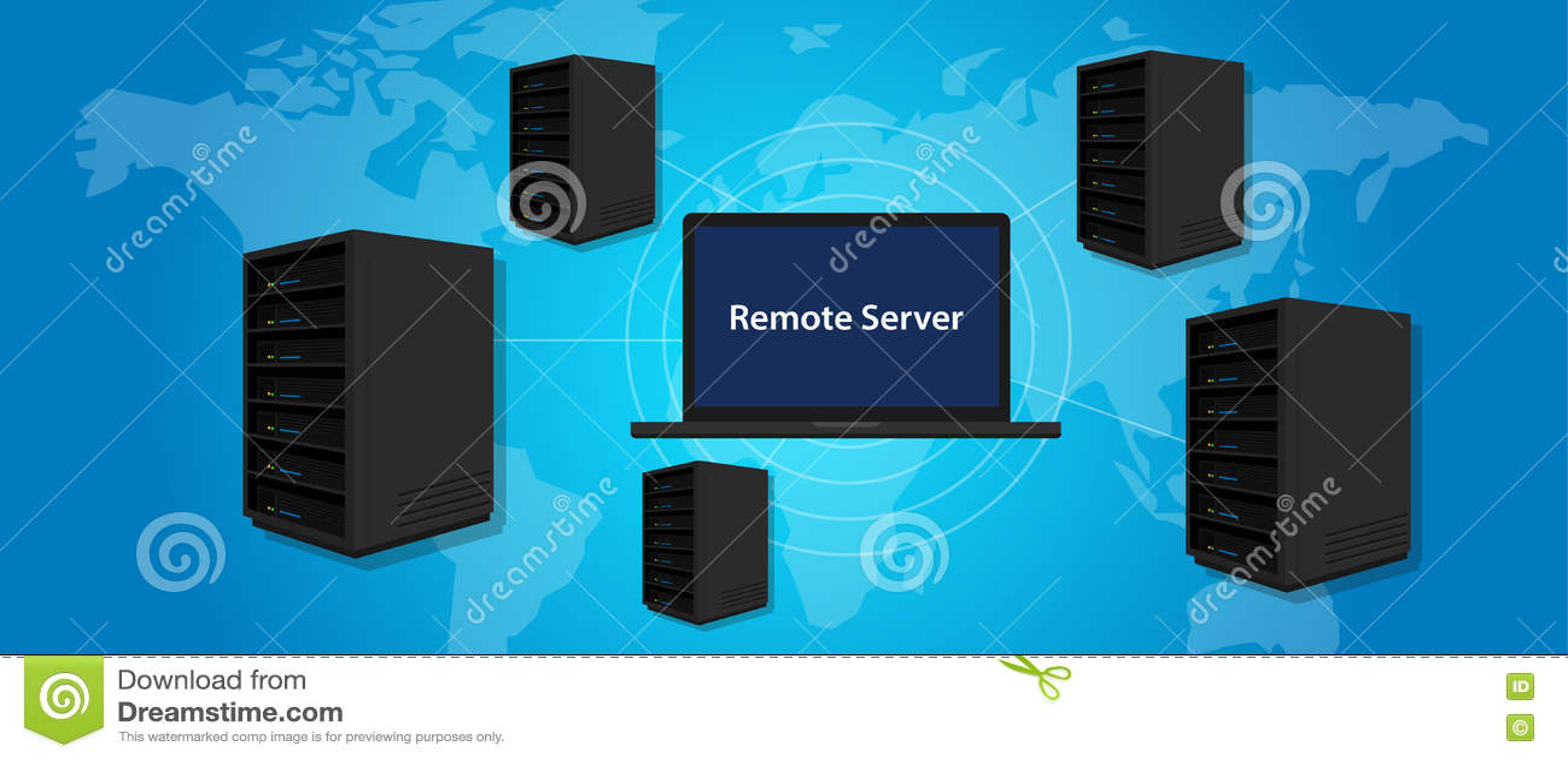 La conexión del servidor remoto maneja el ordenador en línea por todo el mundo dondequiera