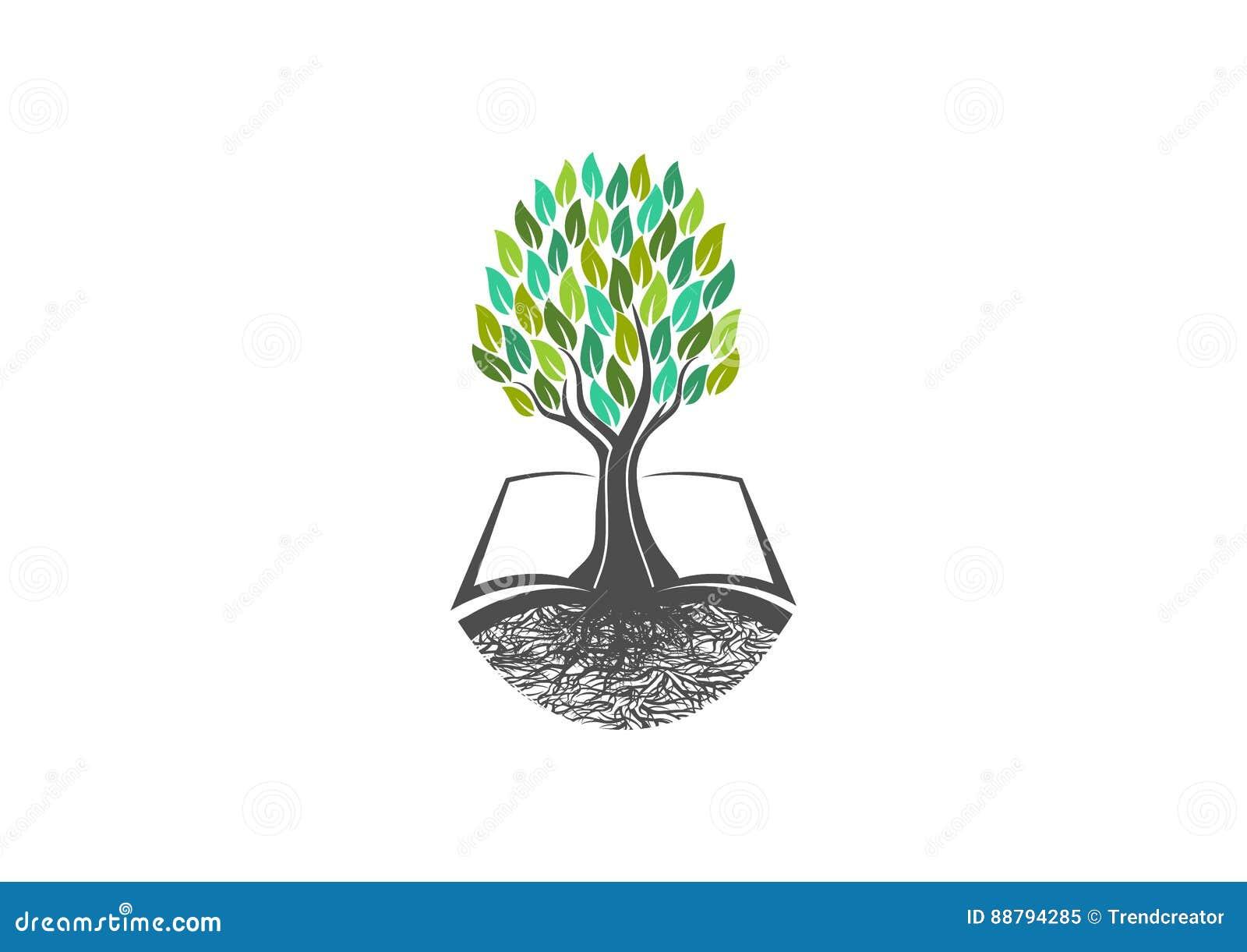 La connaissance d arbre, logo de livre, naturel, étude, icône, sain, symbole, usines, école, jardin, livres, organique ouverts, p