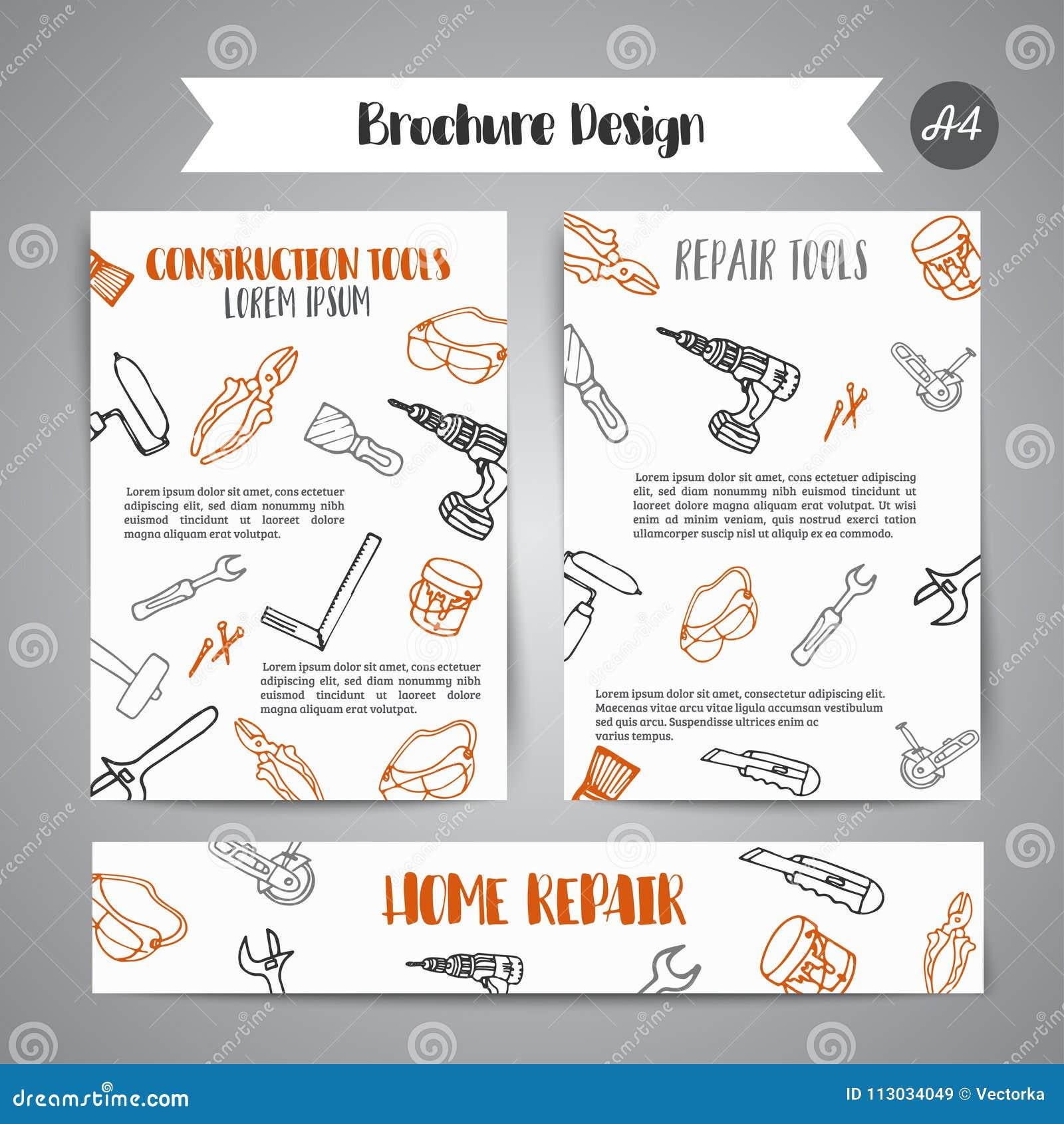 La construcción de las mejoras para el hogar equipa el folleto dibujado mano Bandera del negocio, anuncio