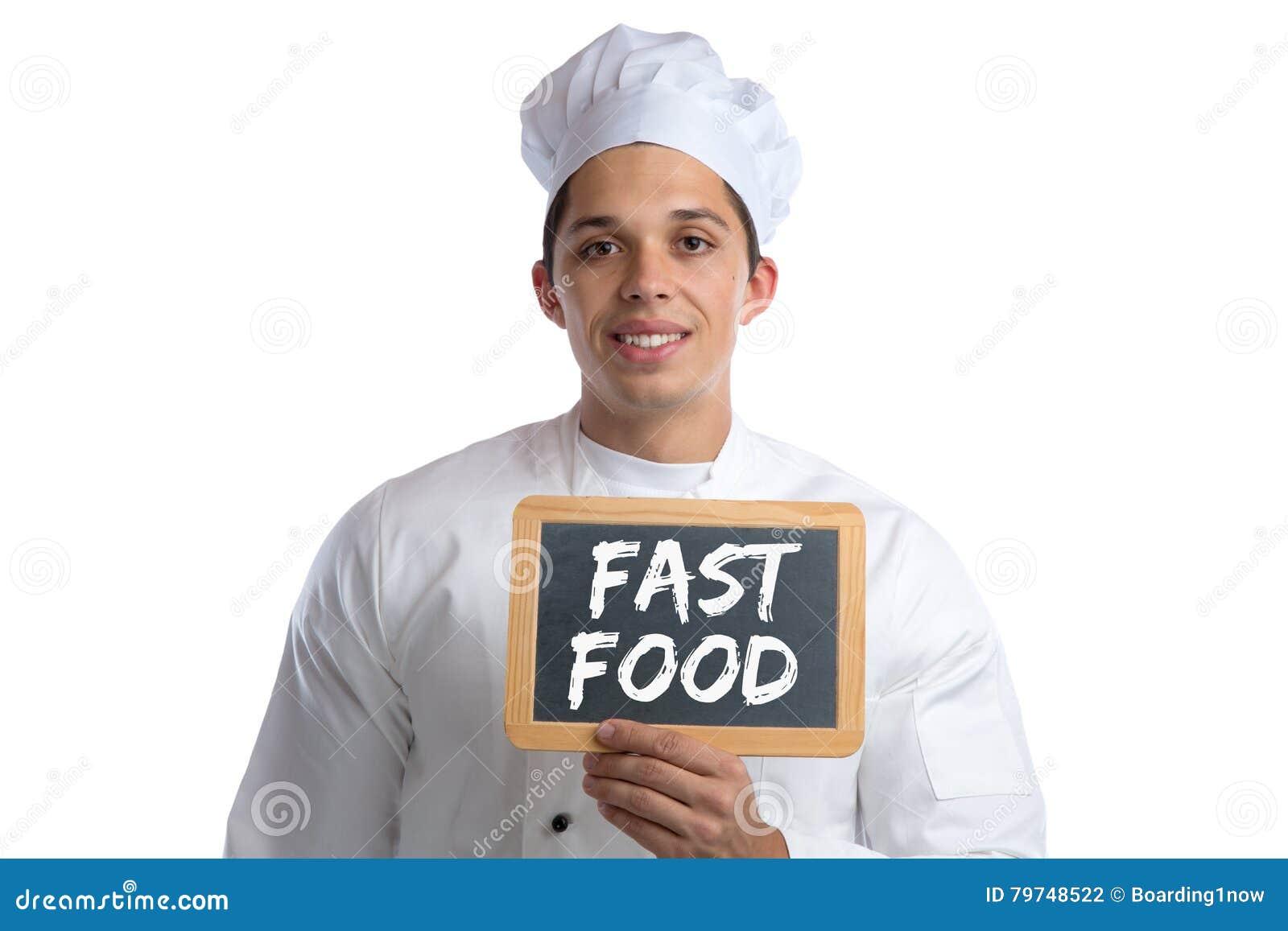 La consumición malsana de los alimentos de preparación rápida come al cocinero que cocina al tablero aislado