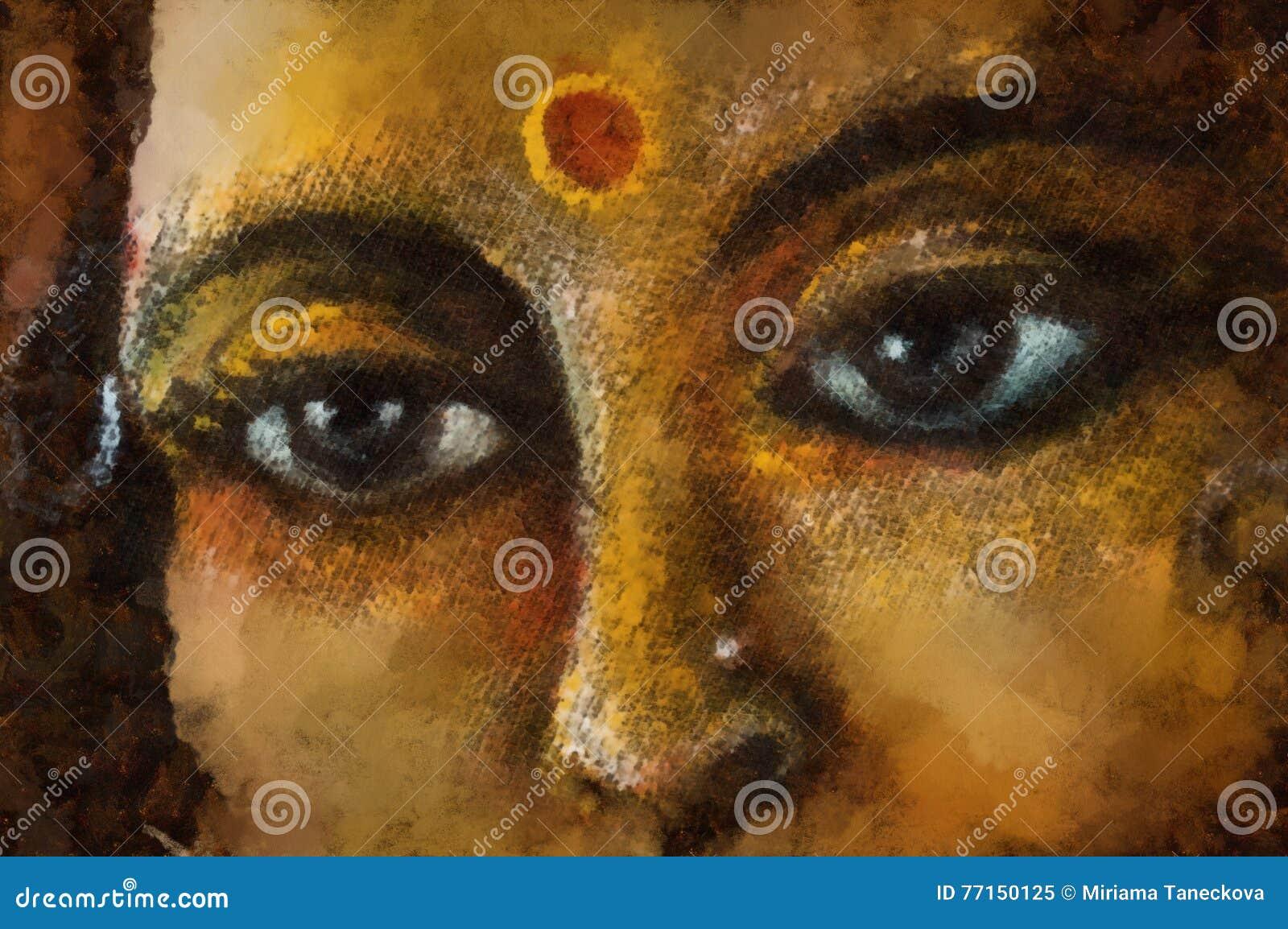 La coordonnée de plan rapproché de la femme indoue observe avec le symbole sacré, illustration
