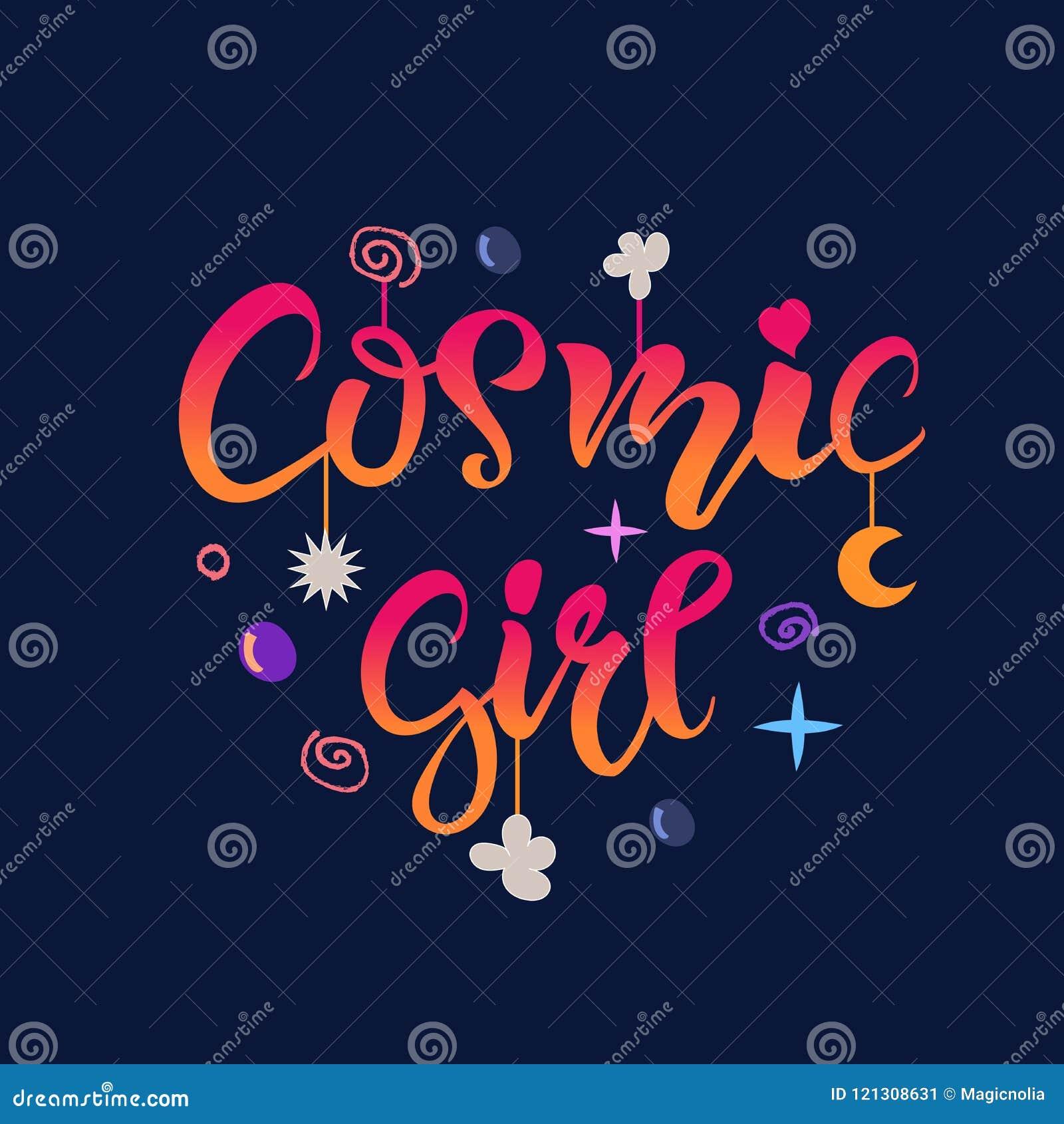 La copie cosmique de conception de T-shirt d habillement de lettrage de fille avec les étoiles, la lune et les bulles pour la fem