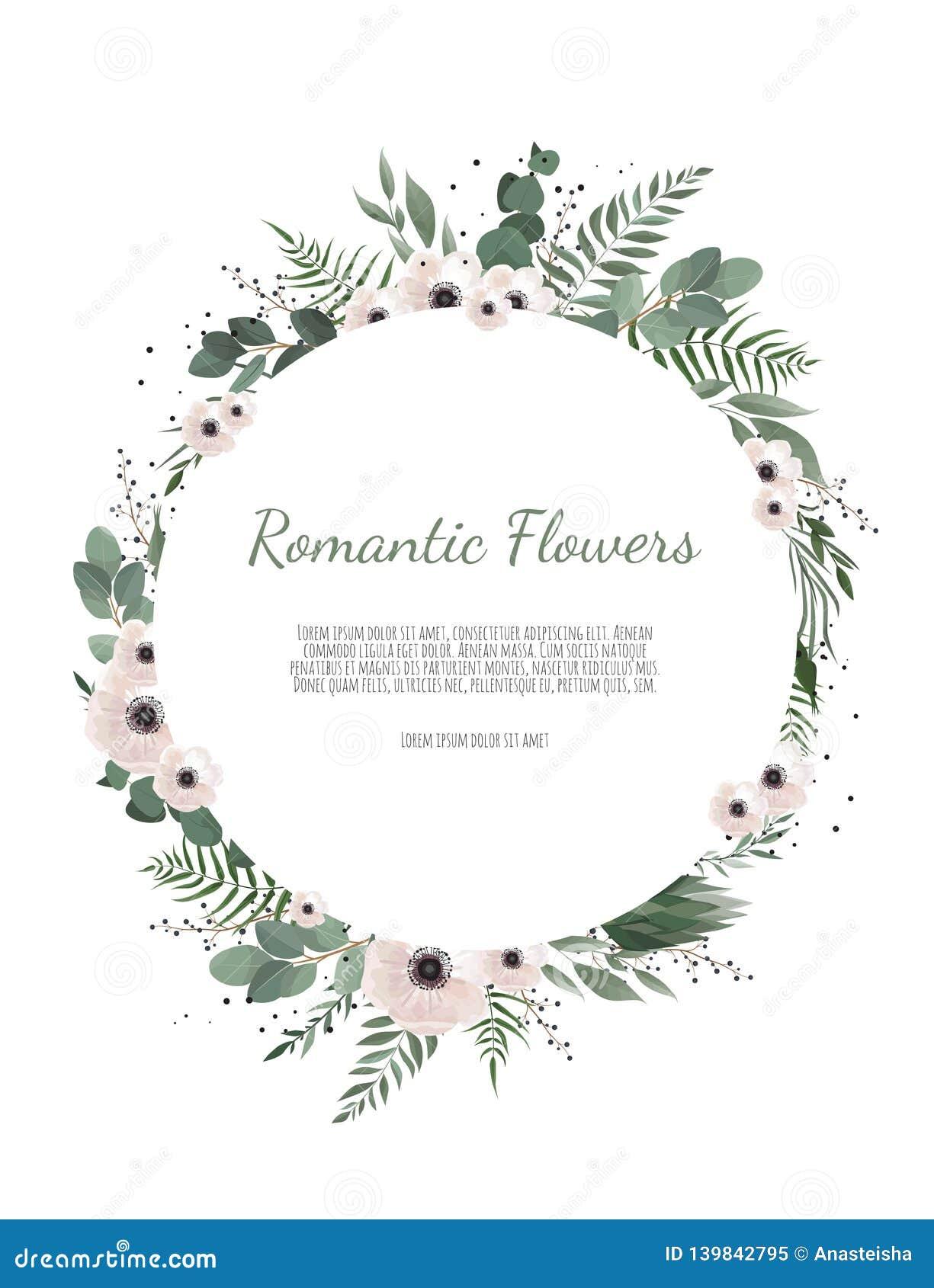 La corona floreale con l eucalyptus verde va, fiore è aumentato, anemone Confine della pagina con lo spazio eps10 della copia