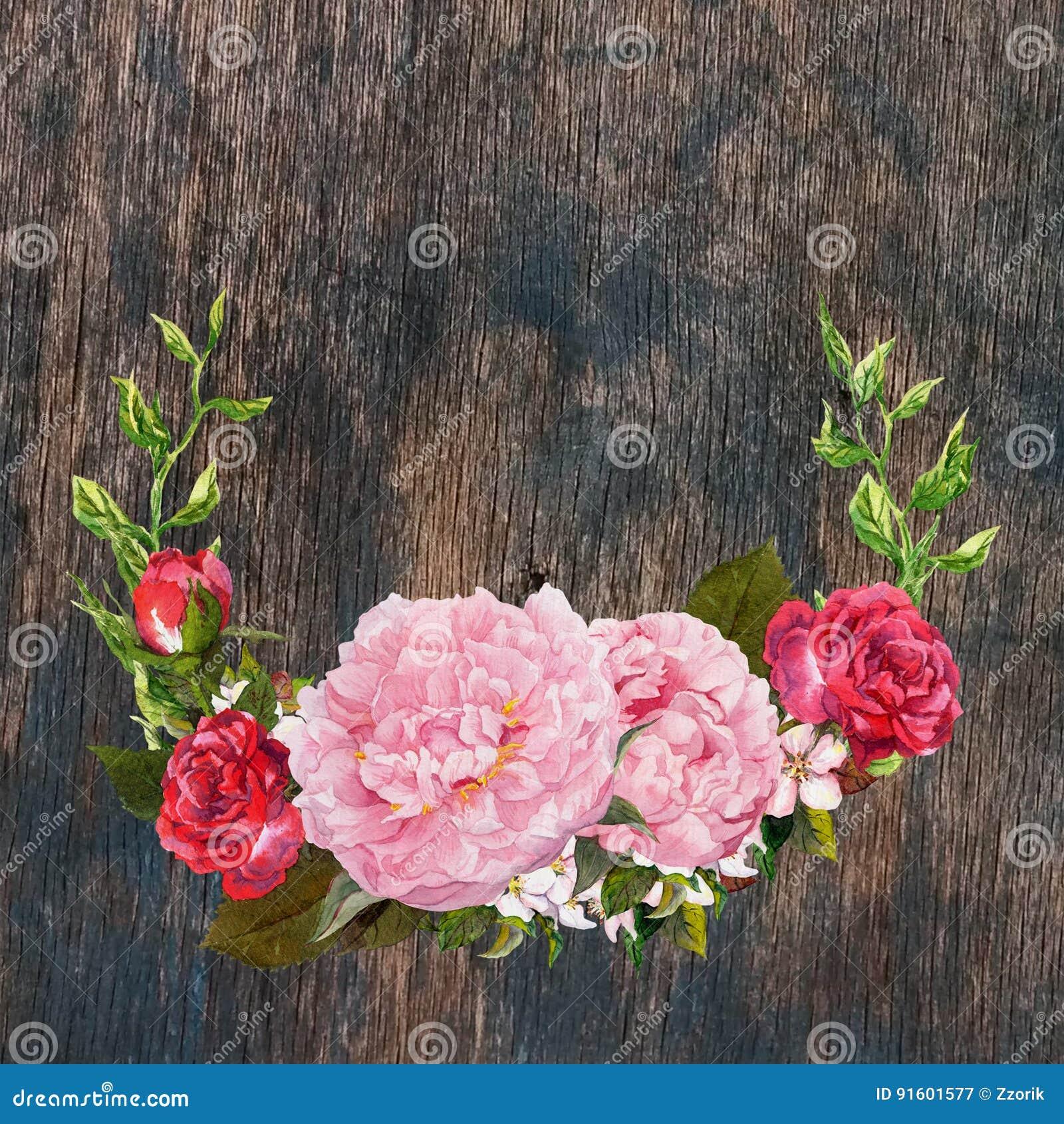La corona floreale con la peonia rosa, rose rosse fiorisce a struttura di legno watercolor