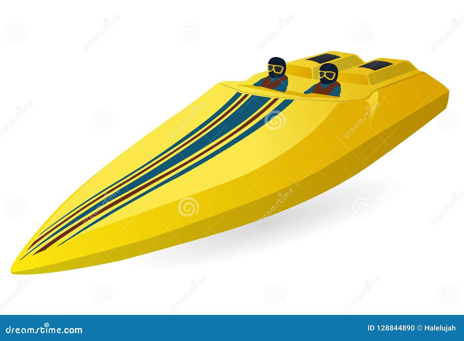La corsa mette in mostra la barca Motoscafo giallo costoso di lusso, motoscafo di lusso