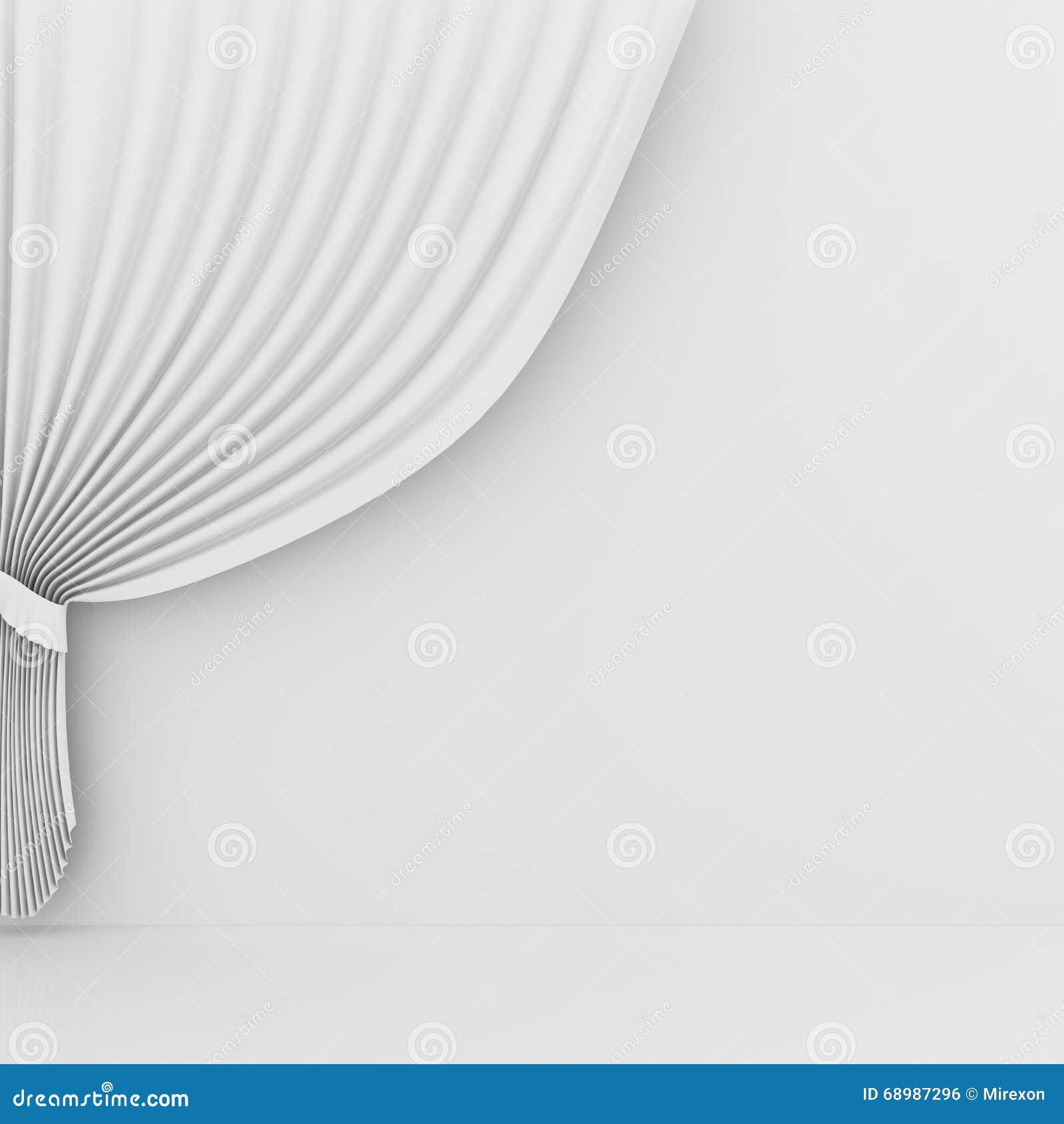La cortina blanca en blanco o cubre en fondo blanco-gris