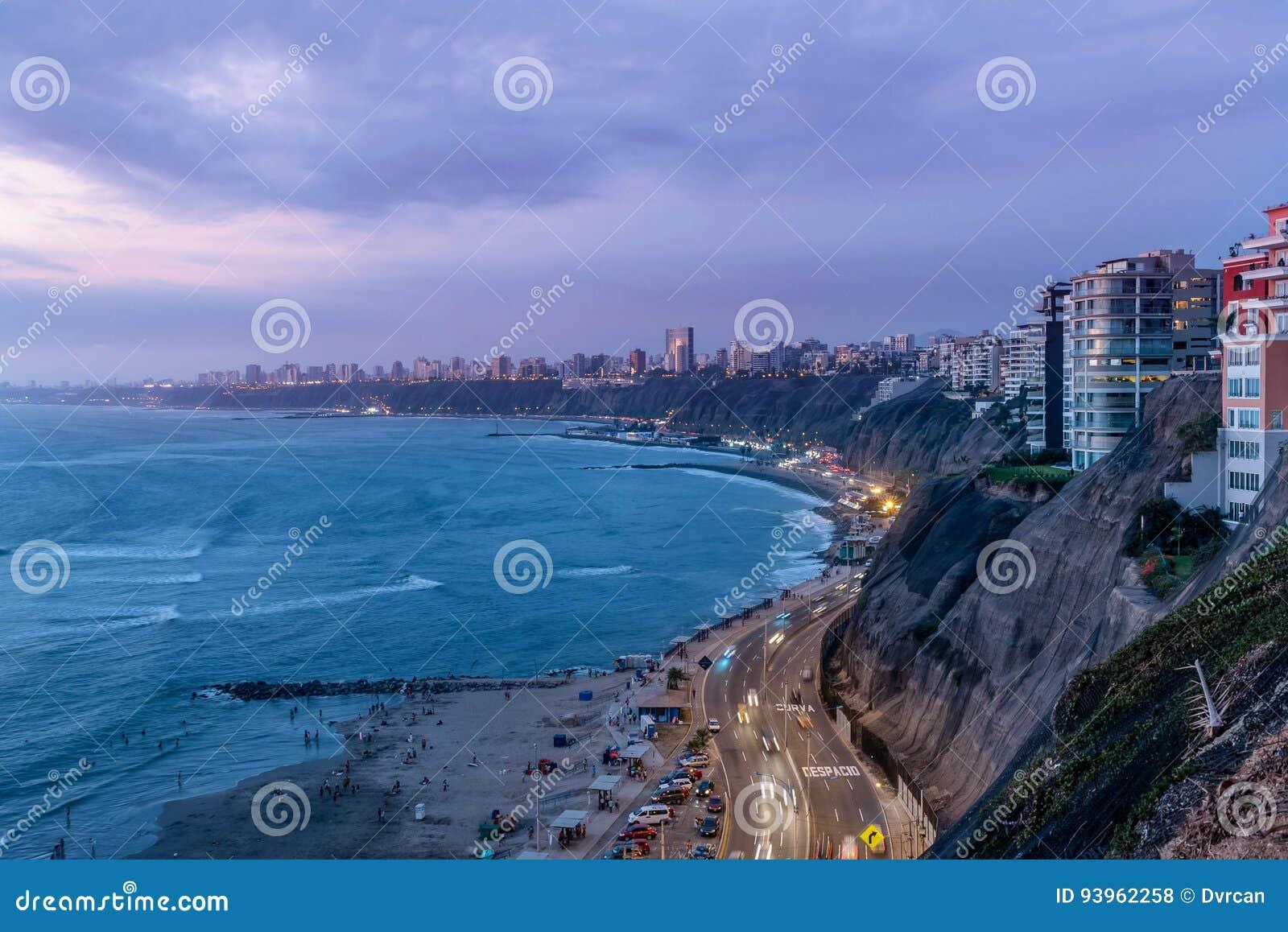 La Costa del Pacífico de Miraflores en Lima, Perú