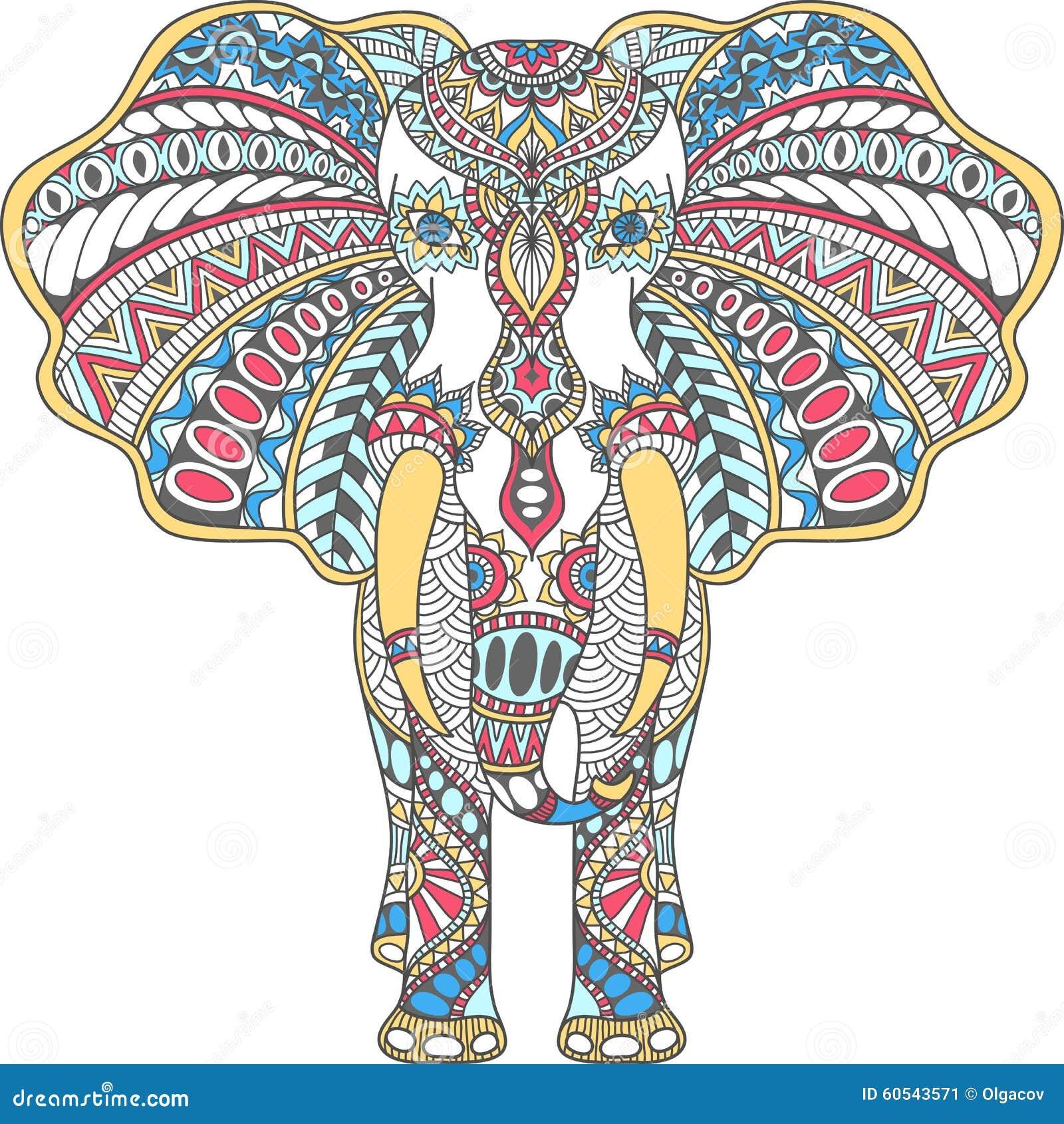 La couleur de vecteur a décoré l éléphant d Asie