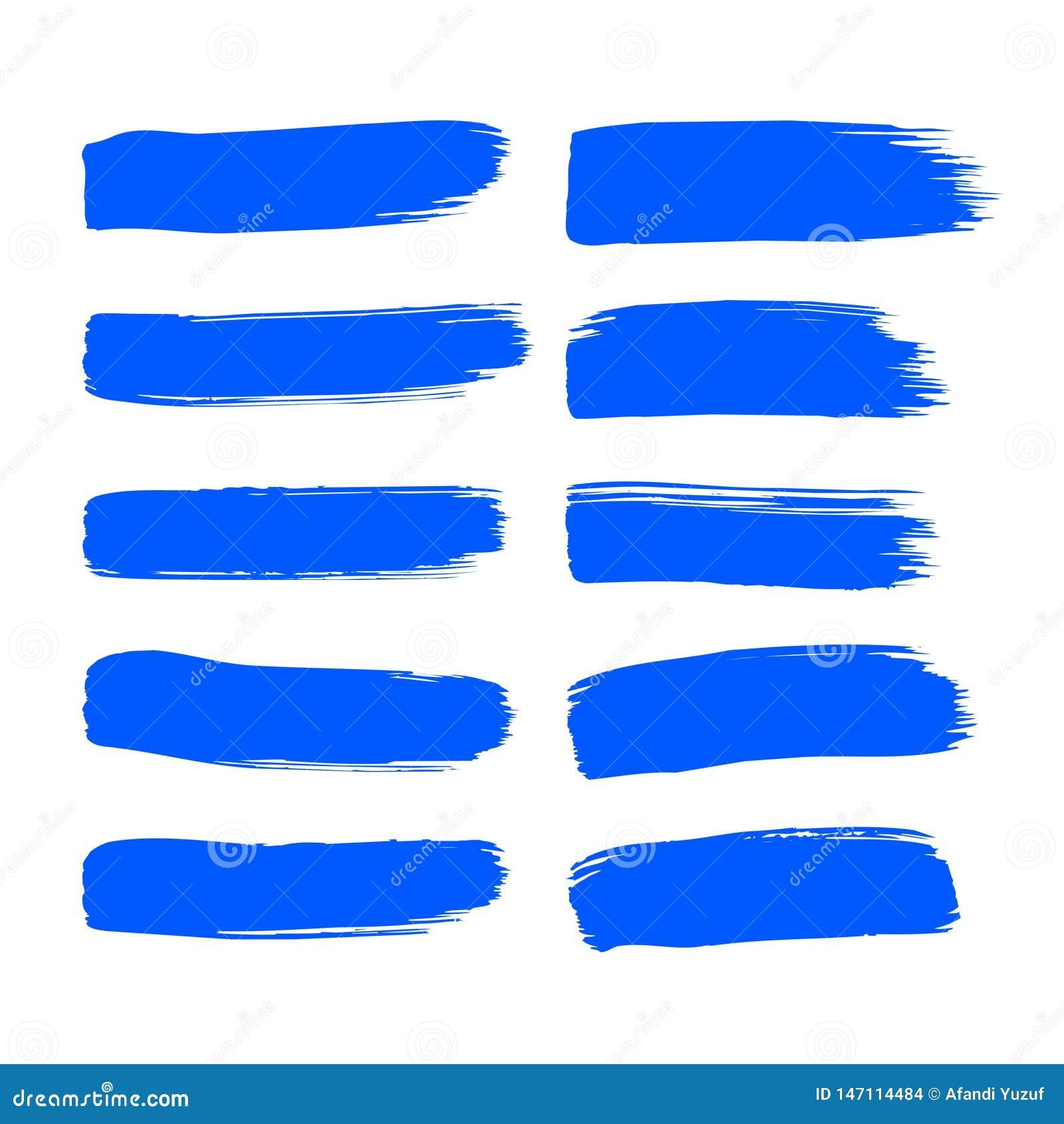 La course de pinceau d encre bleue de vecteur de collection a placé les courses décoratives grunges tirées par la main de brosse