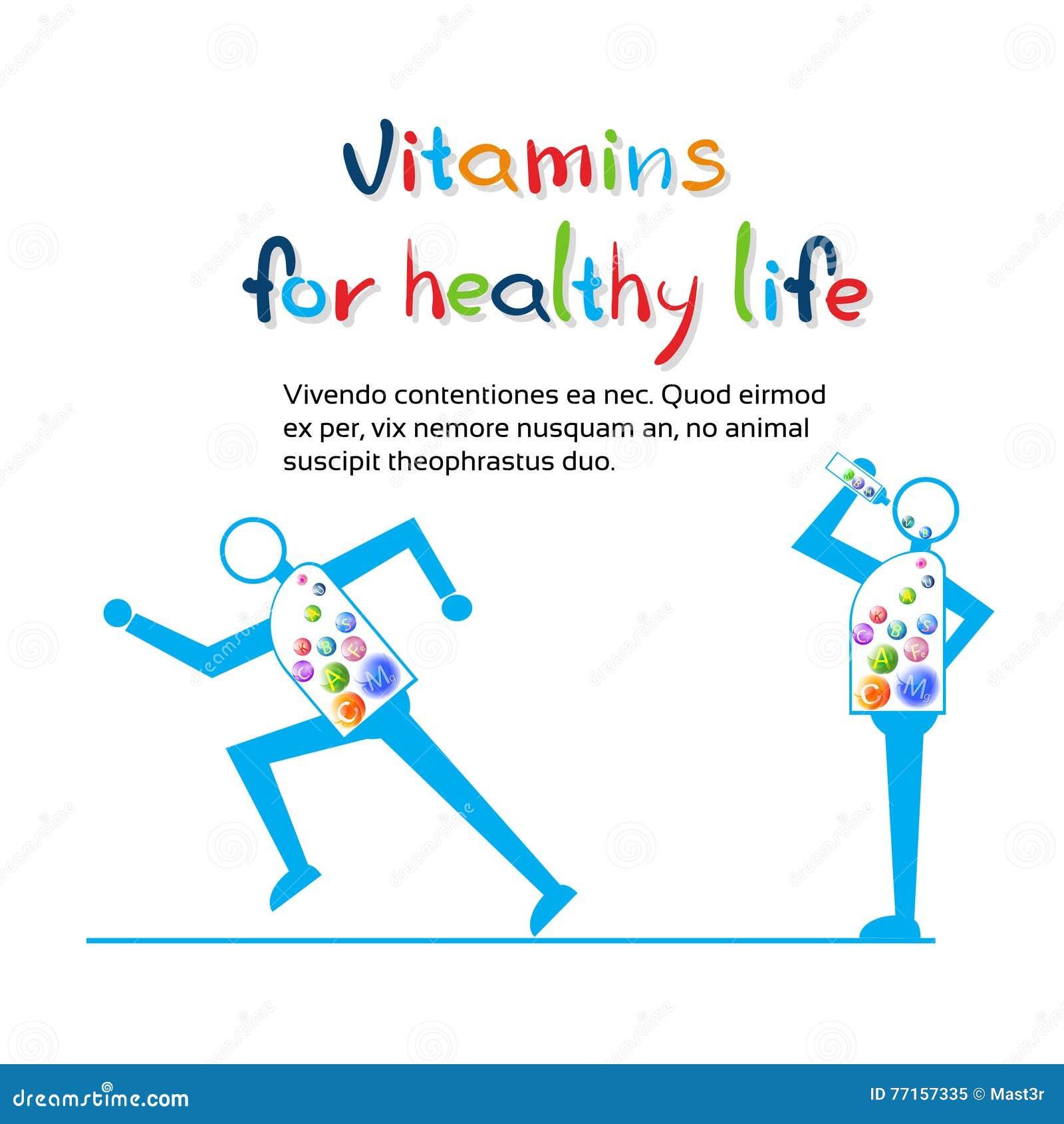 La course forte de personnage de dessin animé, mangent la bannière saine de la vie de vitamines avec l espace de copie
