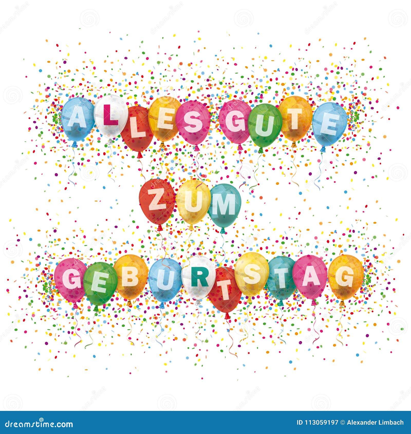 La Couverture D Alles Gute Geburtstag Coloree Monte En Ballon L