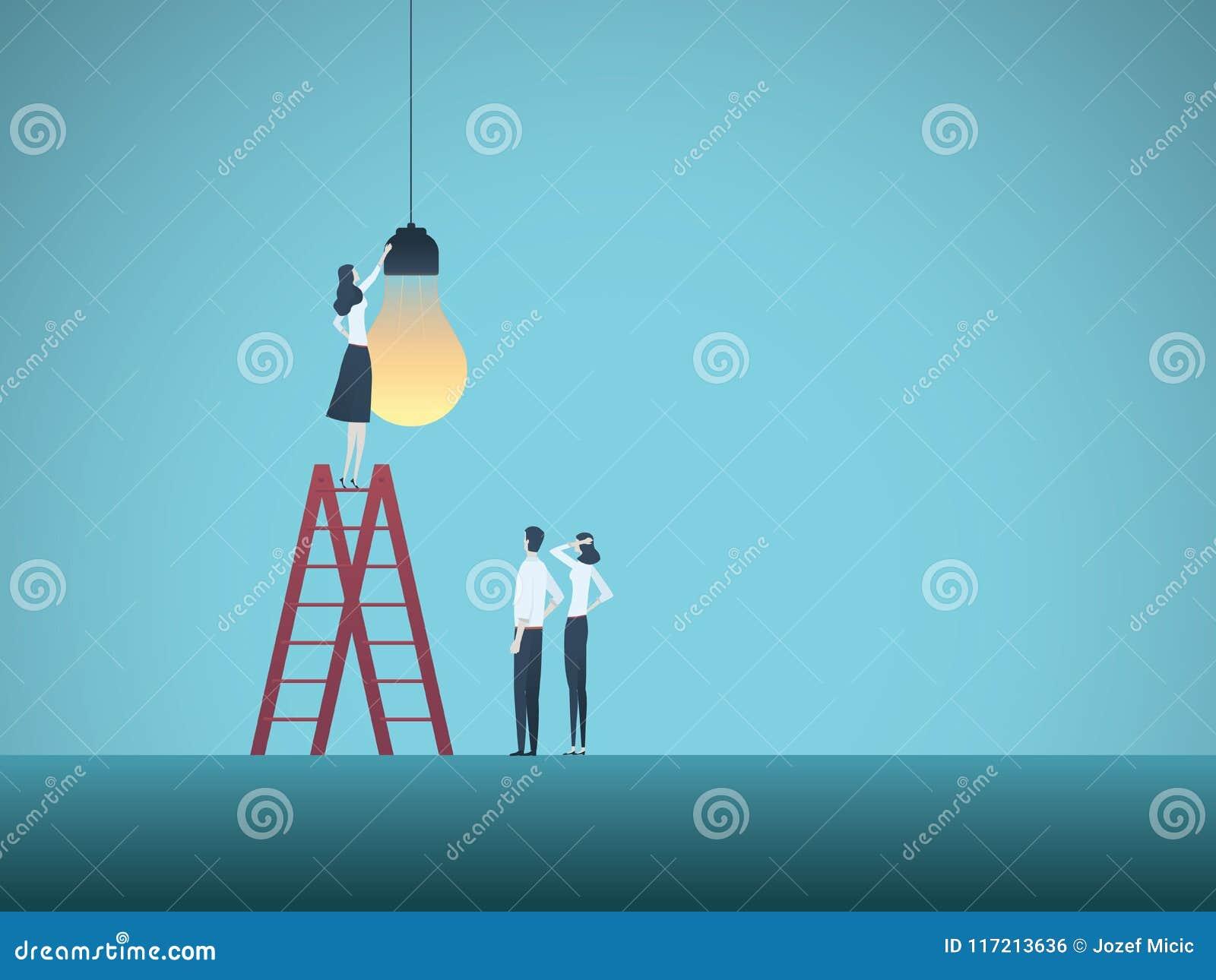 La créativité et le travail d équipe d affaires dirigent le concept avec l équipe d hommes d affaires installant l ampoule Symbol