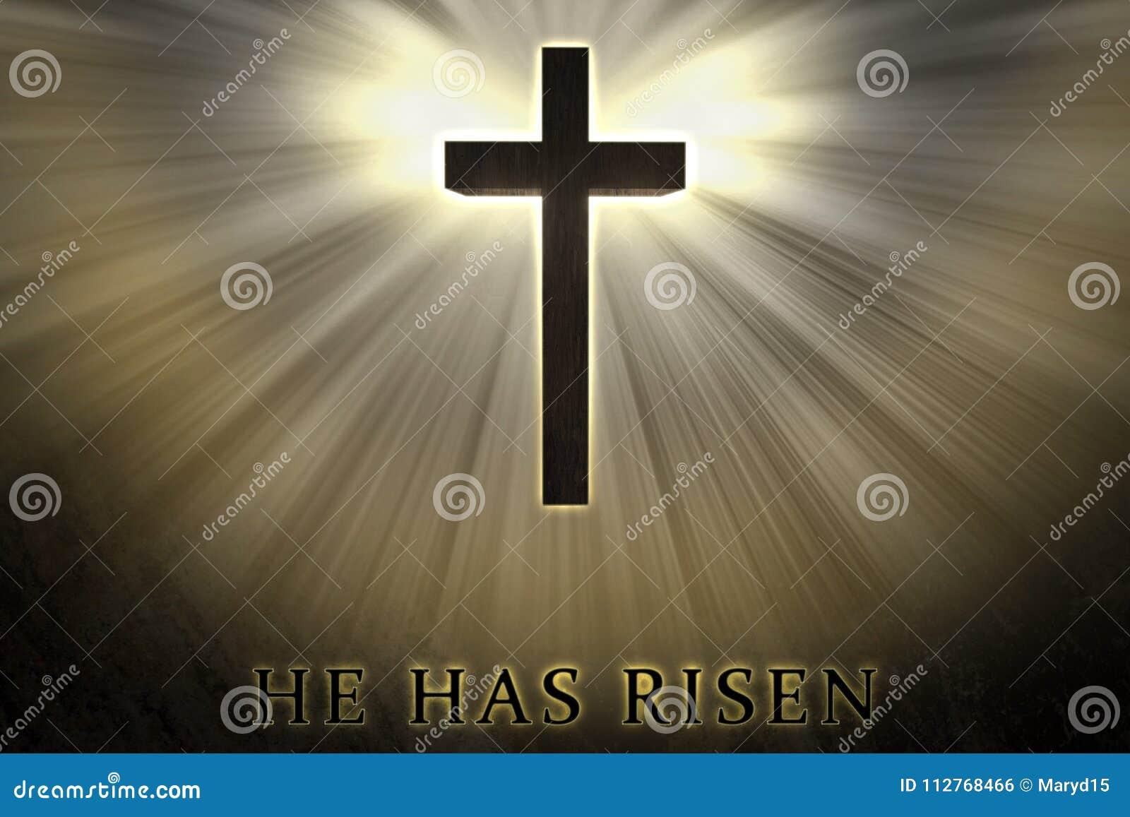 La cruz de Jesus Christ elevada, aumentado para arriba, cubierto por la luz y el resplandor y él tiene texto subido escrito en un