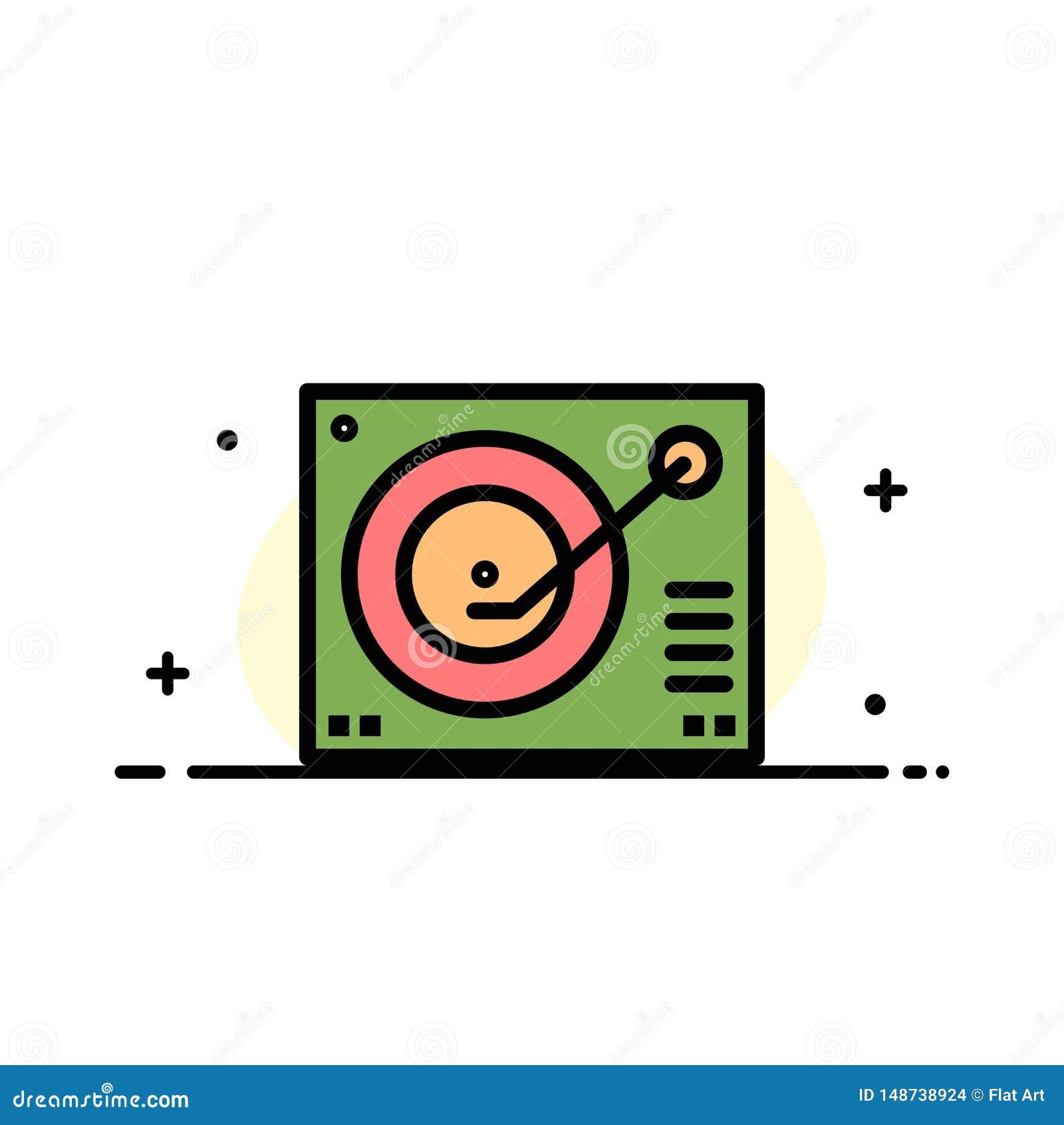 La cubierta, dispositivo, fonógrafo, jugador, línea plana del negocio de registro llenó la plantilla de la bandera del vector del