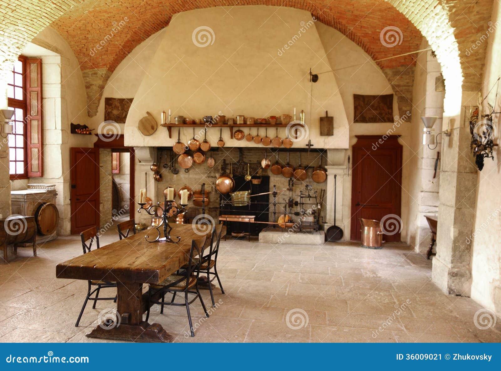 La Cucina Antica Alla Cantina Di Chateau De Pommard. Immagine Stock ...
