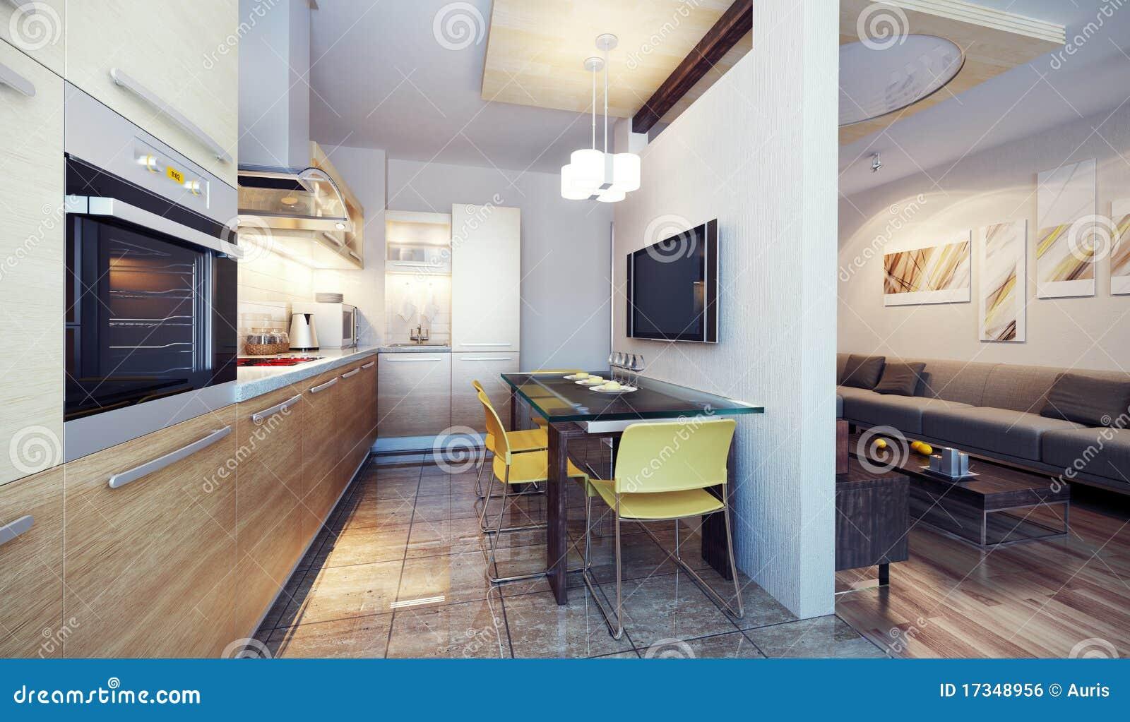 La cuisine moderne 3d intérieur rendent