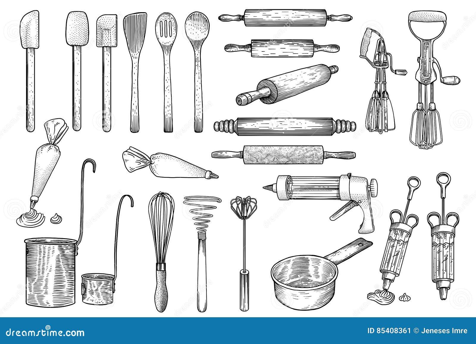 La cuisine, outil, ustensile, vecteur, dessin, gravure, illustration, battent, goupille, décorant