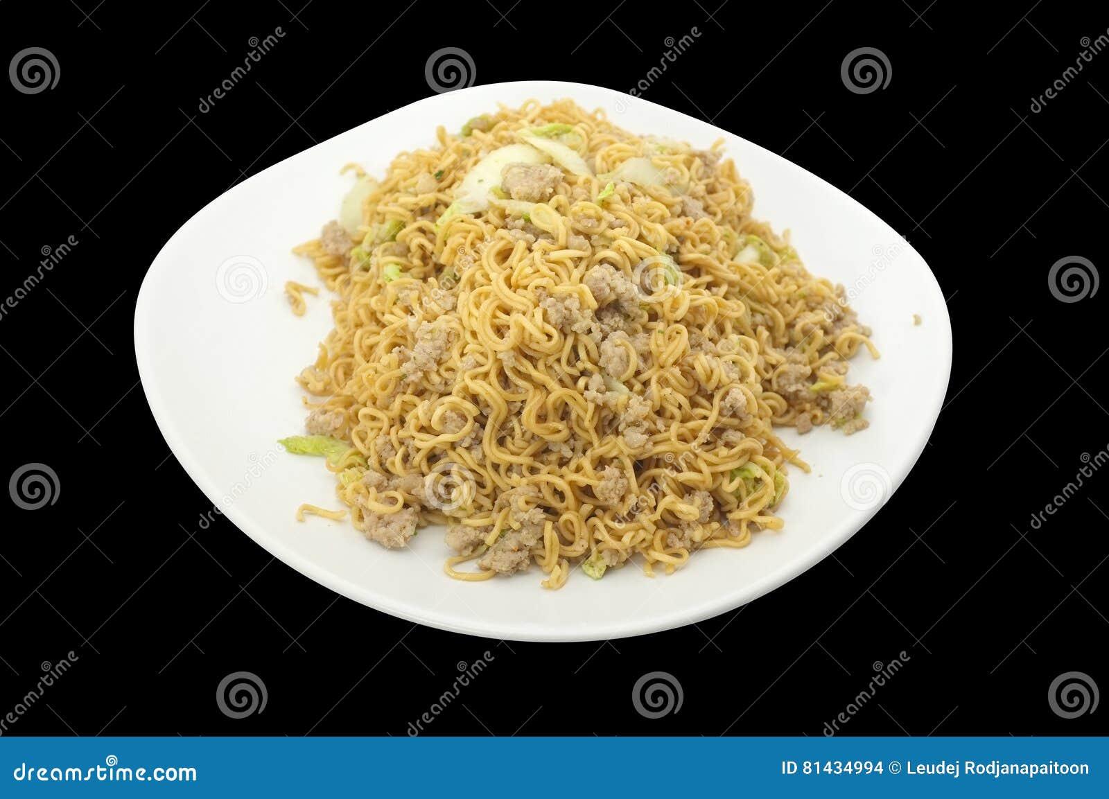 La cuisine thaïlandaise, émoi asiatique a fait frire la nouille avec du porc et le légume hachés