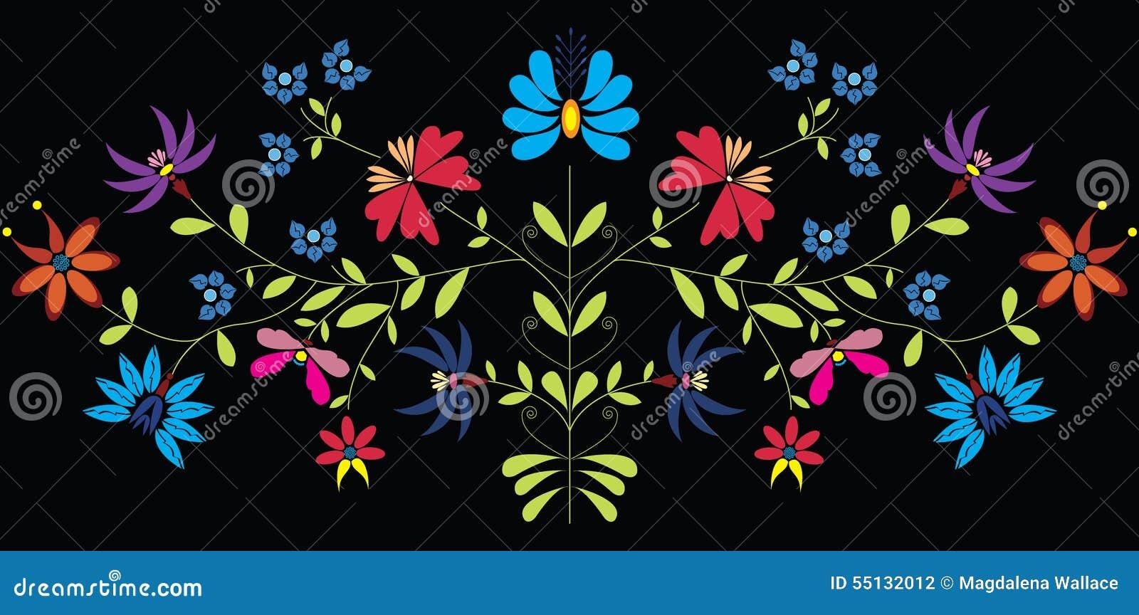 La culture européenne a inspiré le modèle floral folklorique en couleurs sur le fond noir