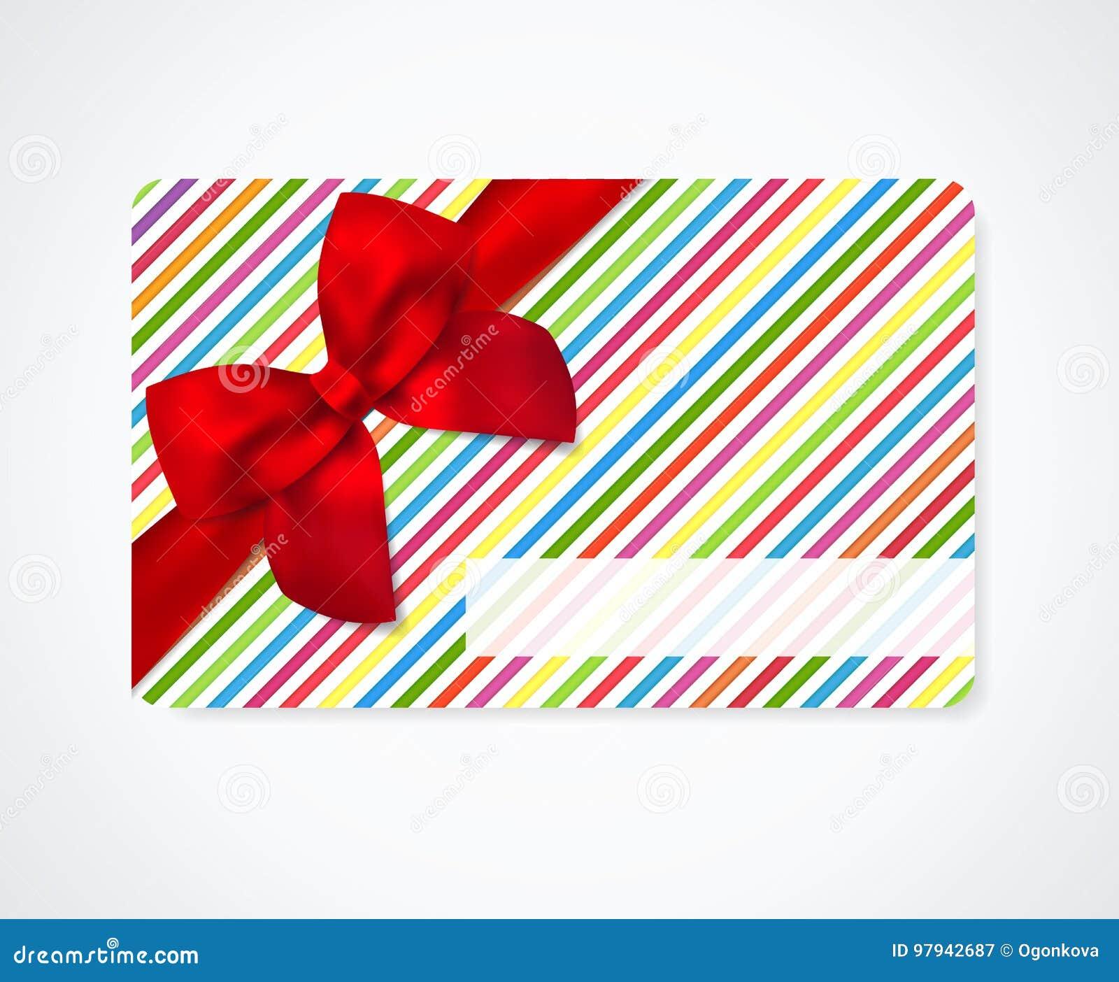 La Cupon Del Regalo Tarjeta Del Descuento Del Carte Cadeaux Tarjeta De Visita Con El Modelo Rayado Alinea Cinta Roja Del Arco Ilustracion Del Vector Ilustracion De Alinea Cadeaux 97942687