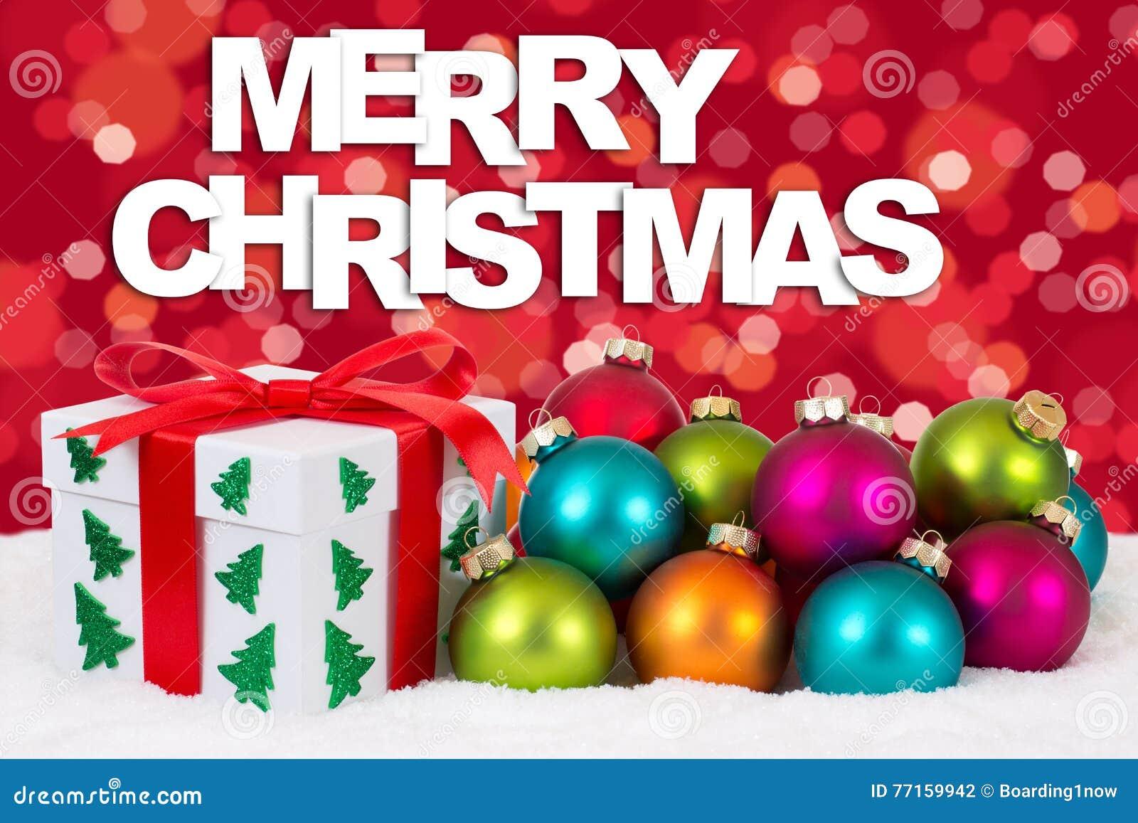 La décoration de carte cadeaux de Joyeux Noël avec le fond rouge s allume
