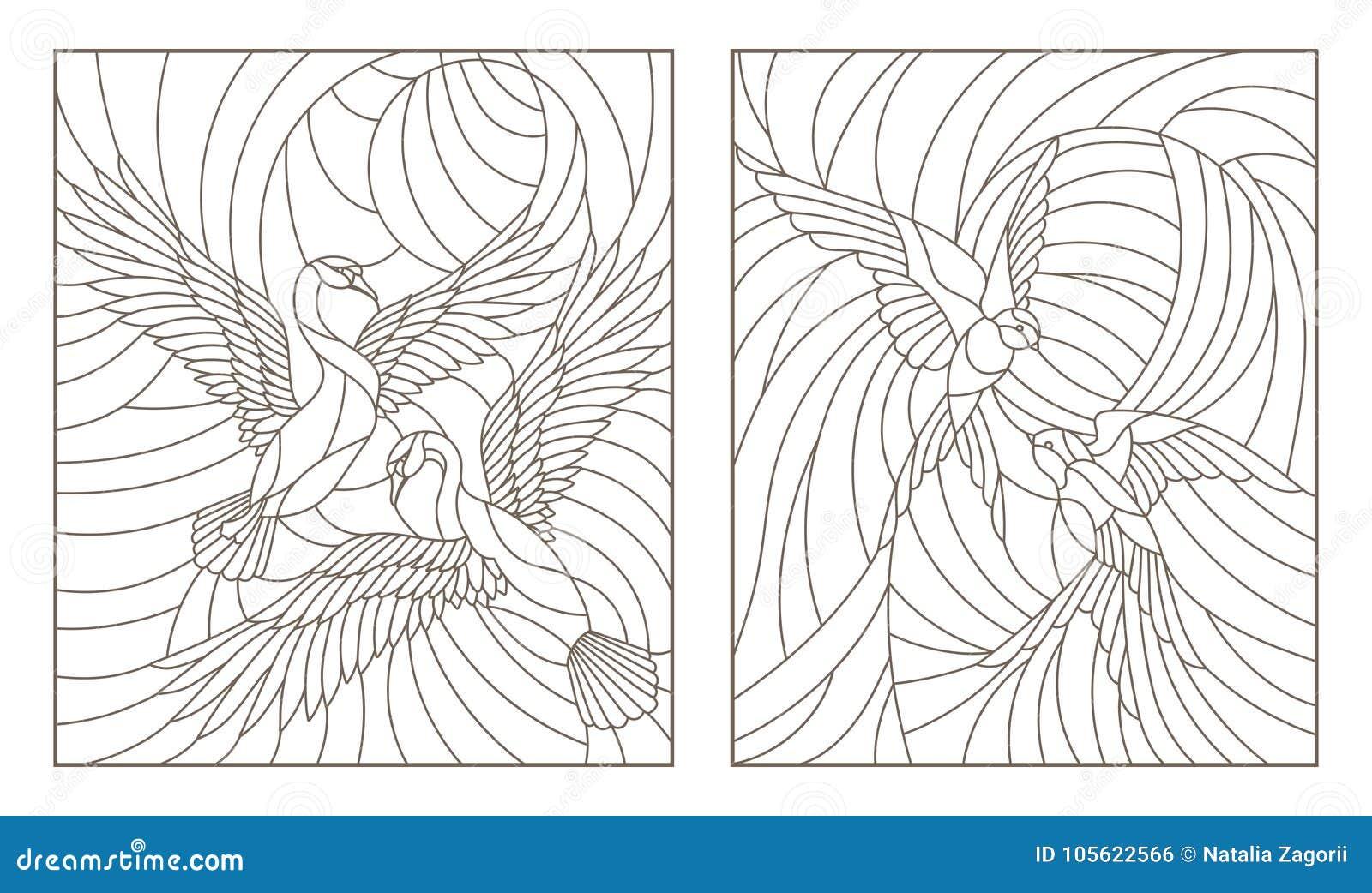 La découpe a placé avec des illustrations des oiseaux en verre souillé, des paires de cygnes et une paire d hirondelles en ciel s