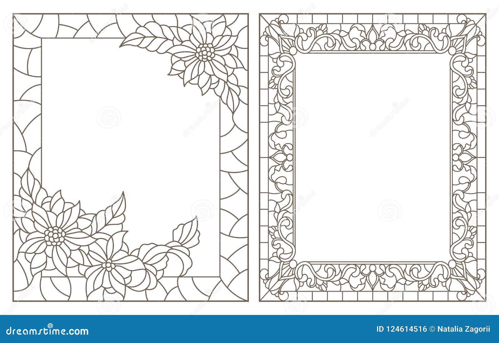 La découpe a placé avec les illustrations du verre souillé avec le cadre floral, contours foncés sur le fond blanc