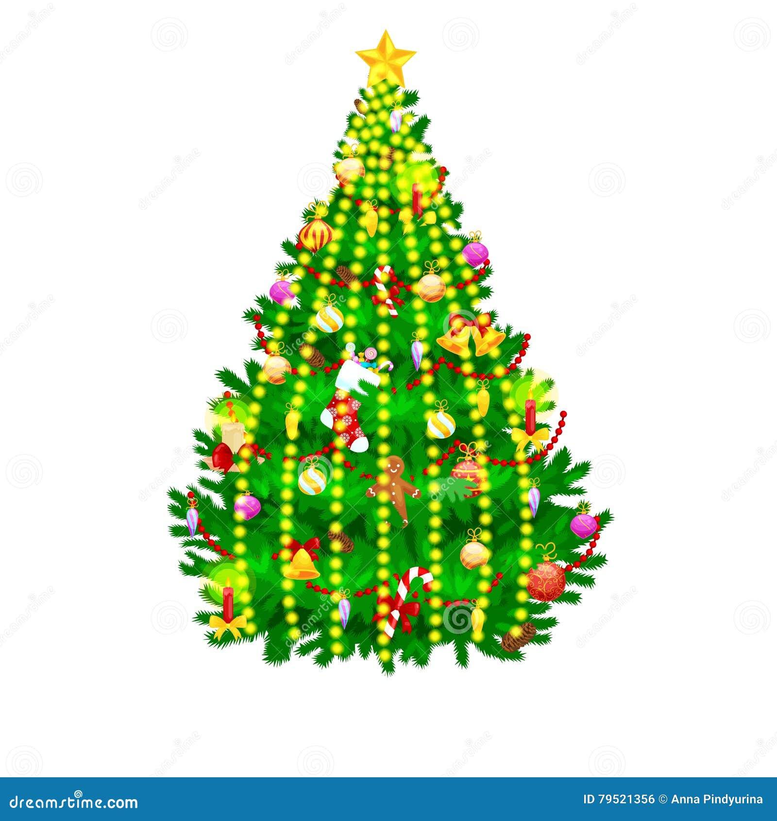 08c2f45de410a La decoración aislada árbol de navidad del día de fiesta para celebra xmass  con las luces caramelo y hombres de pan de jengibre de las estrellas de las  ...
