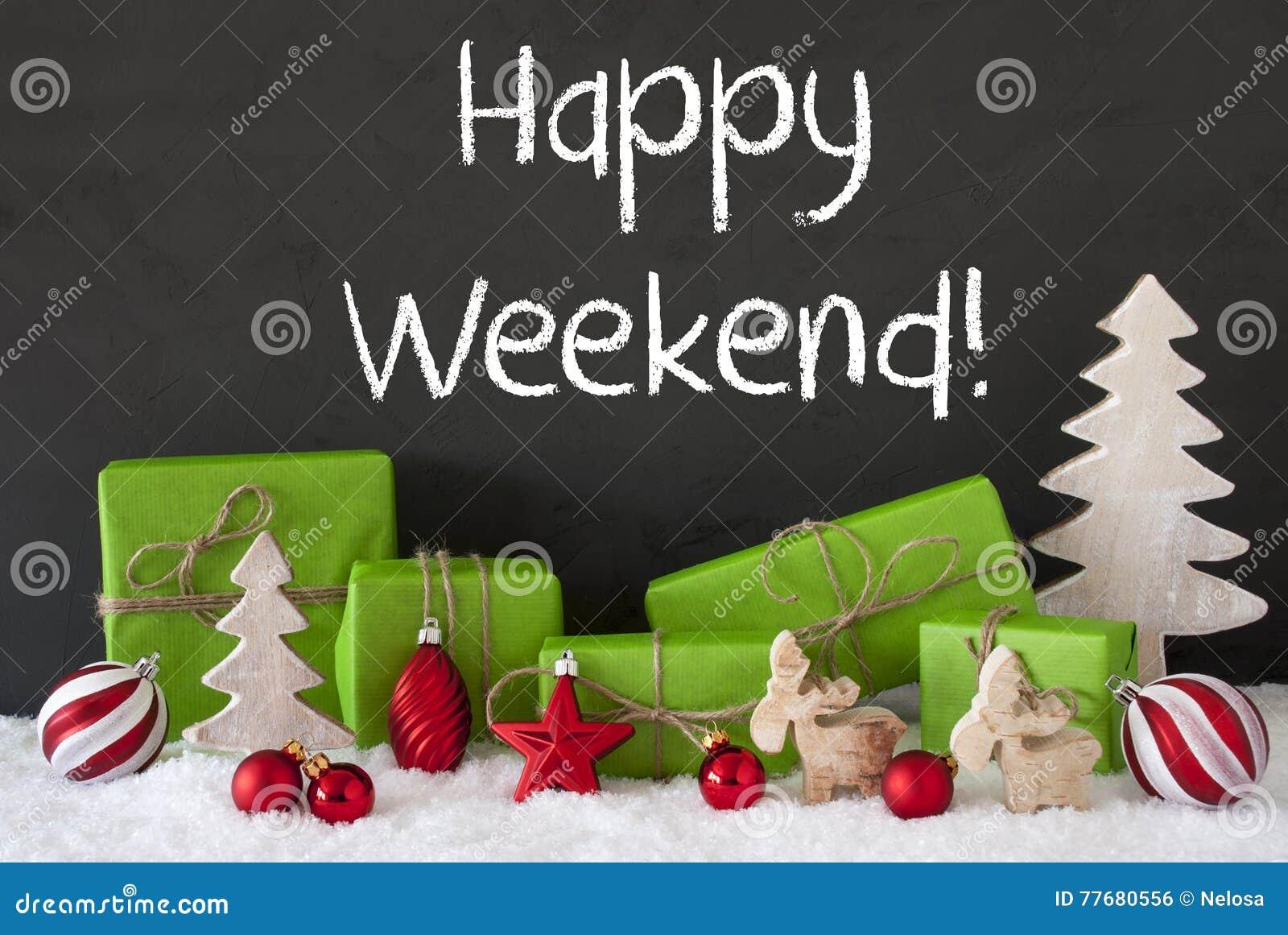 La decoración de la Navidad, cemento, nieve, manda un SMS a fin de semana feliz