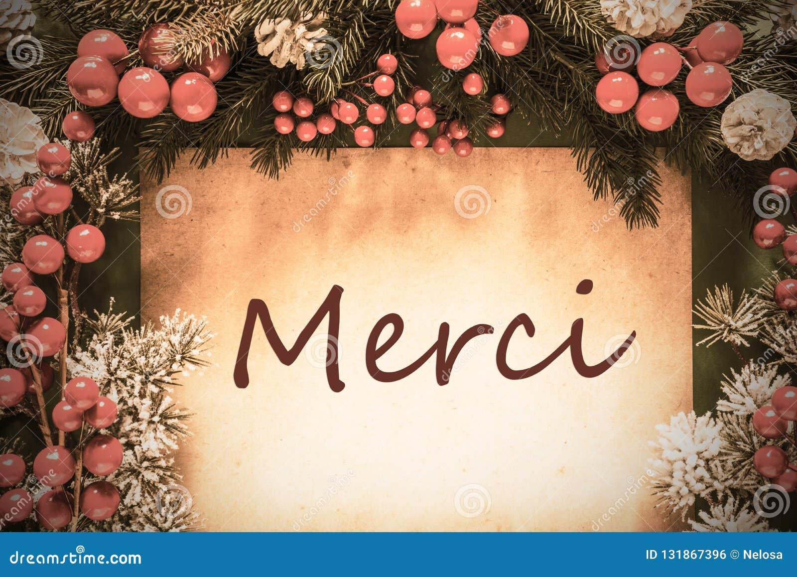 La decoración retra de la Navidad, rama de árbol de abeto, medios de Merci le agradece