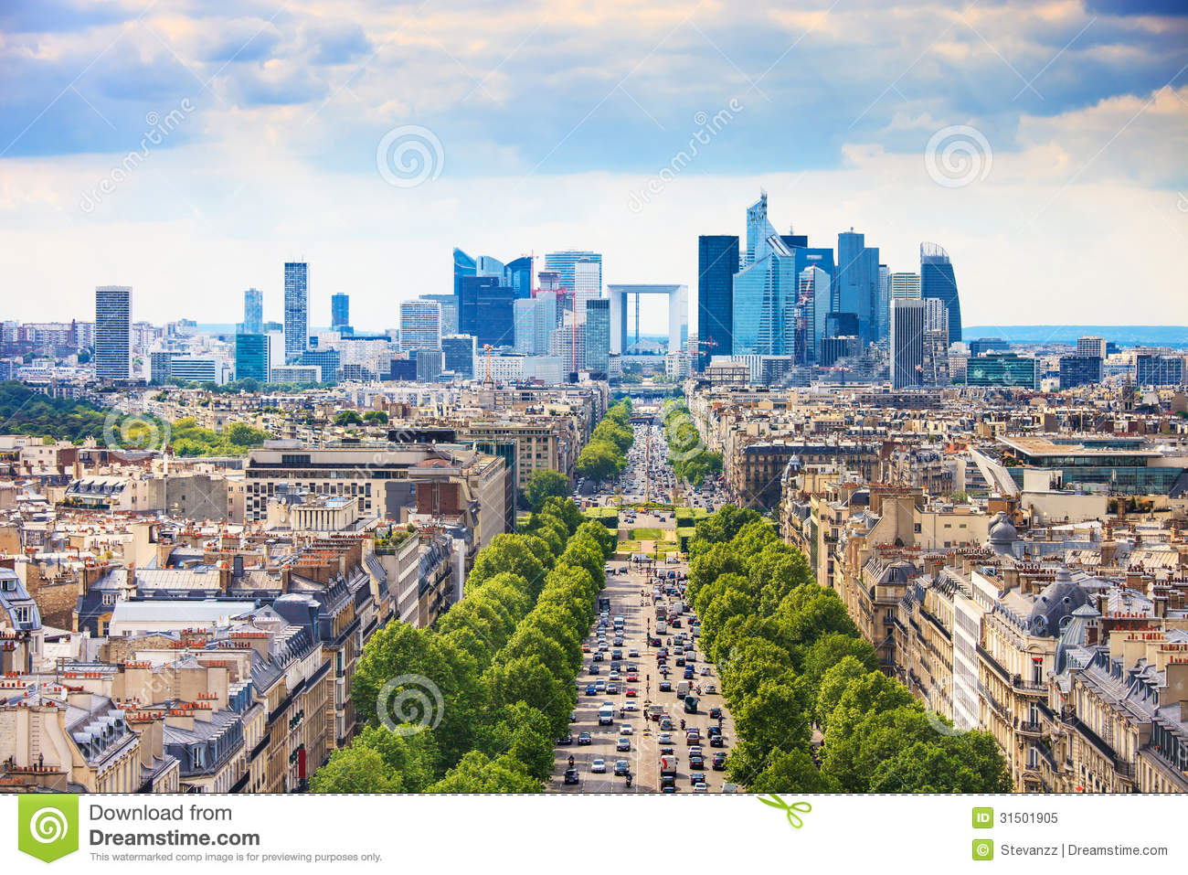 la defense business area grande armee avenue paris france royalty free stock photo image. Black Bedroom Furniture Sets. Home Design Ideas