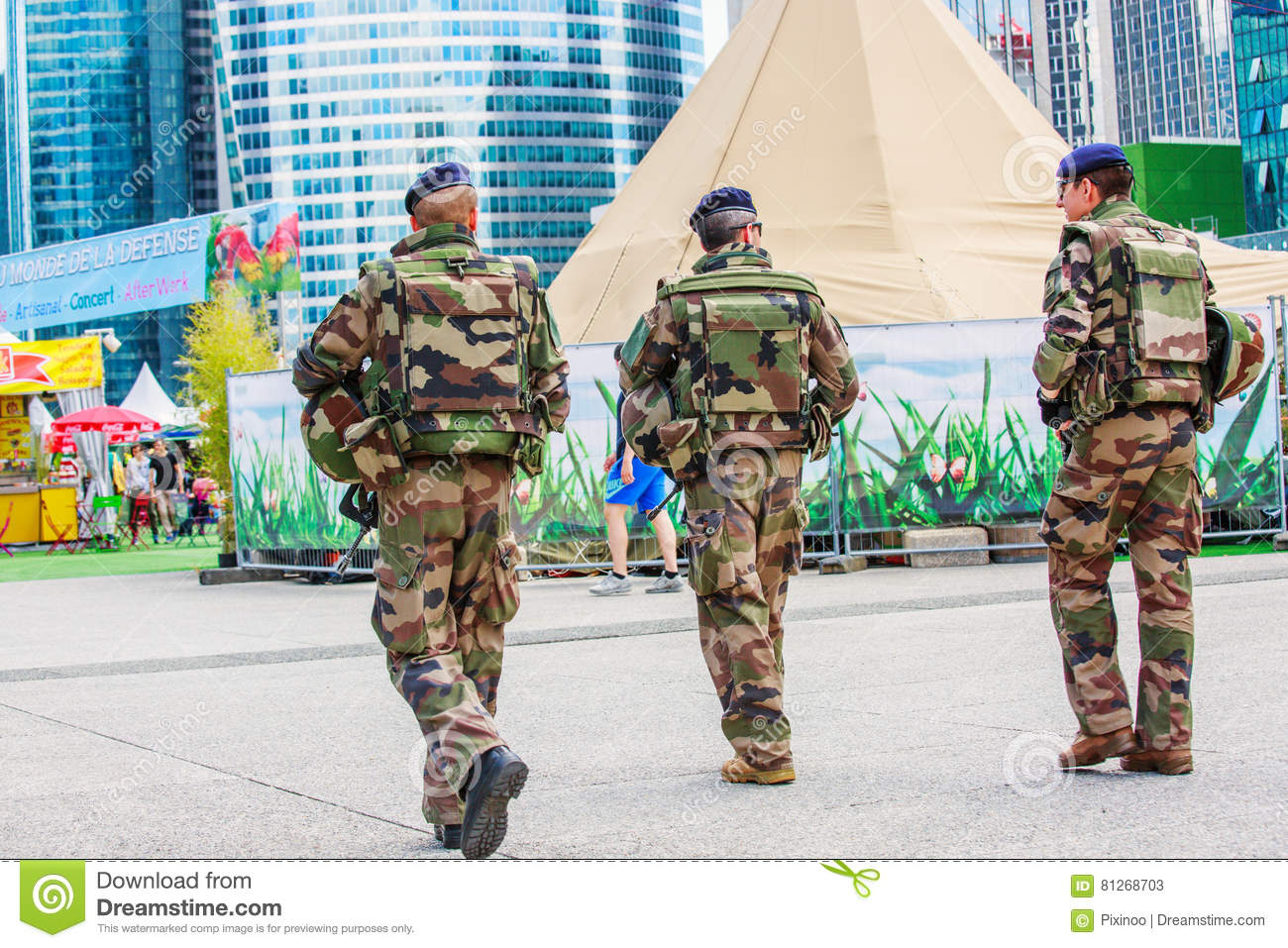 La defense, France - July 17 2016: French military patrol assign