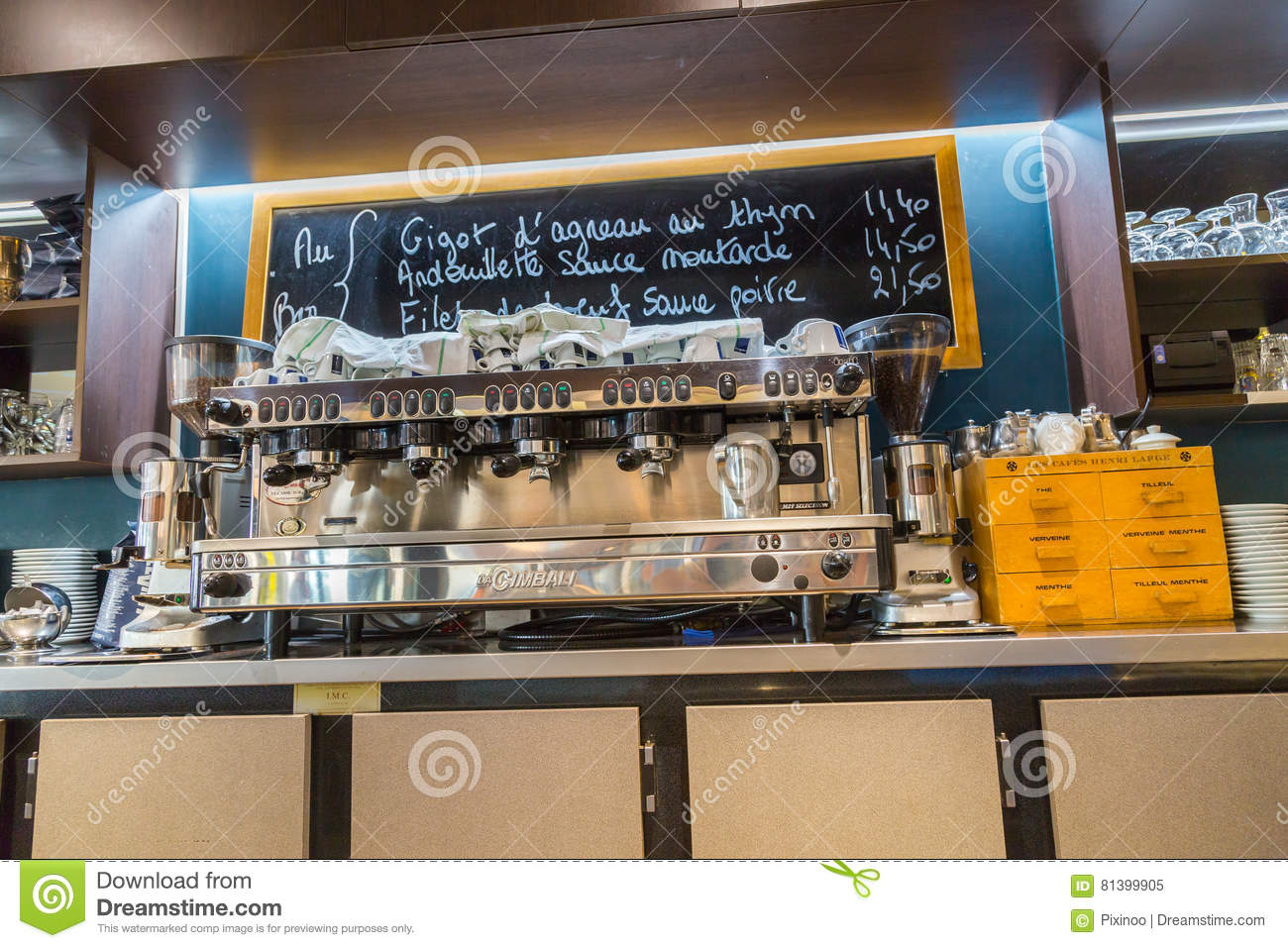 La defense, France - July 17, 2016: inside view on counter of big traditional french restaurant in la defense city, the greatest