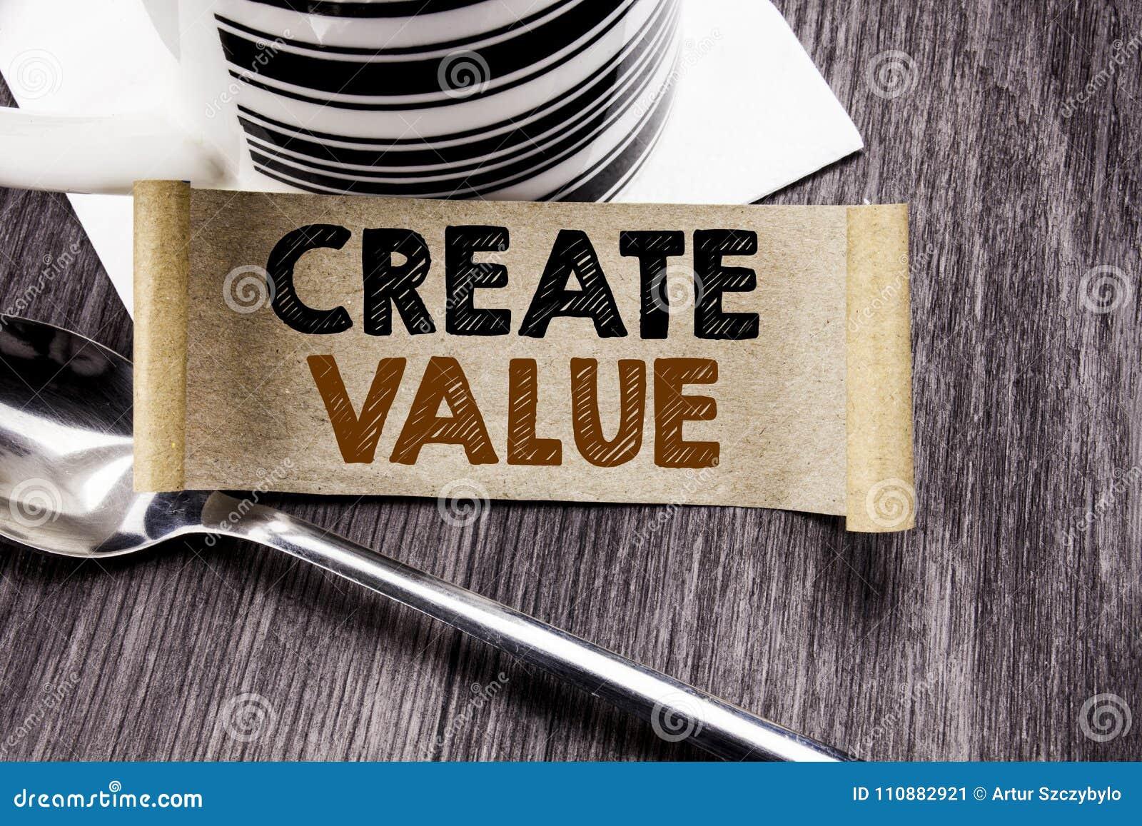 La demostración del texto del aviso de la escritura crea valor Concepto del negocio para crear la motivación escrita en el docume
