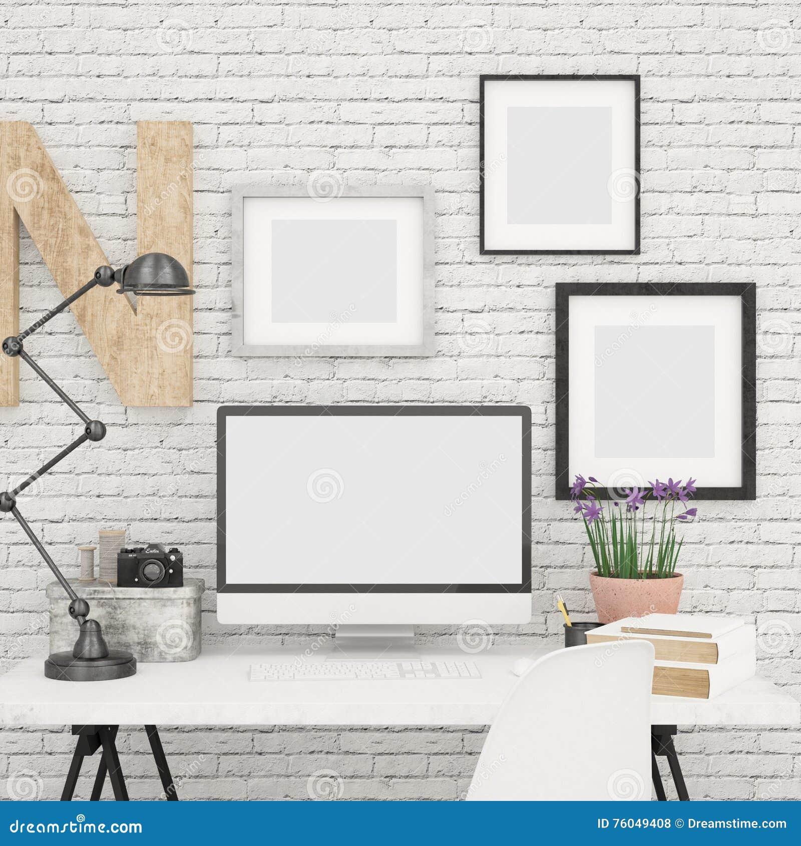 La derisione dello schermo di computer alta e le strutture della foto deridono su in ufficio contemporaneo e moderno