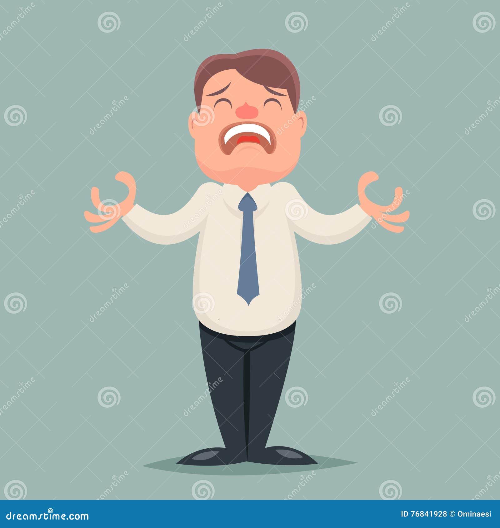 La desesperación sufre el ejemplo retro del vector del diseño de la historieta de Emotion Character Icon del hombre de negocios d