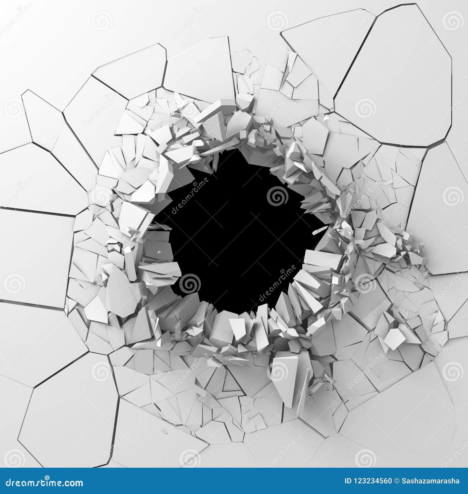 la destruction fonc e a fendu le trou dans le mur en. Black Bedroom Furniture Sets. Home Design Ideas