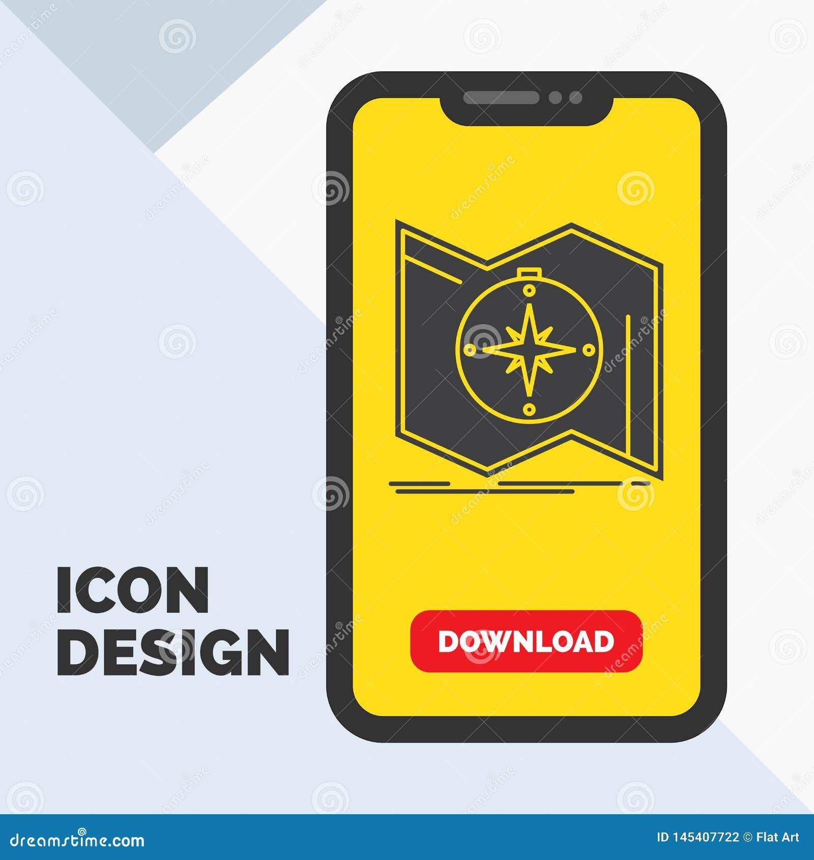 La direzione, esplora, traccia, traversa, icona di glifo di navigazione in cellulare per la pagina di download Fondo giallo
