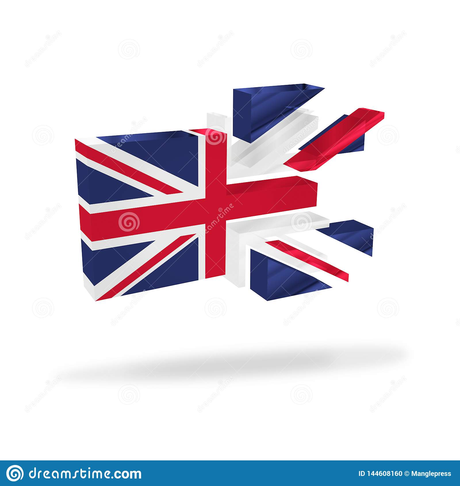 La disolución británica de la bandera del Union Jack rompe para arriba el referéndum Brexit de la independencia