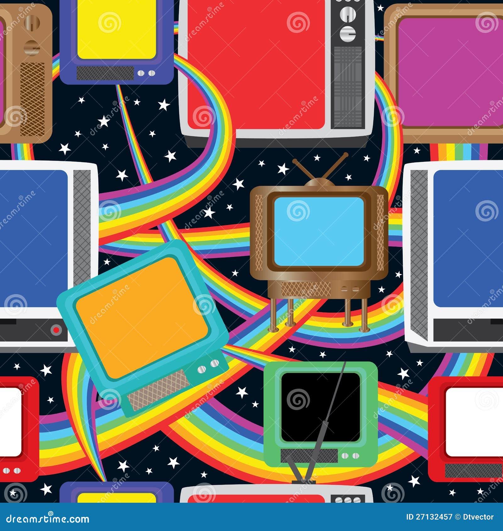 La diversión de la televisión trae a colores Pattern_eps inconsútil