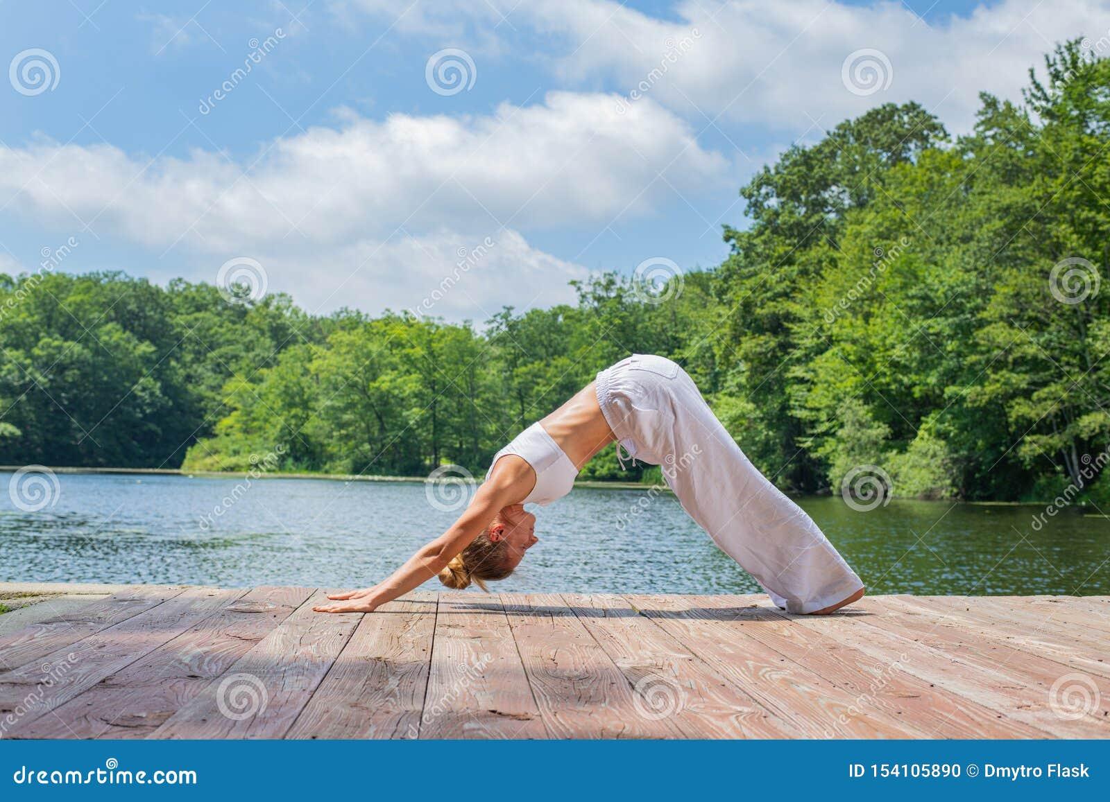La donna attraente sta praticando l yoga, facendo l esercizio di Adho Mukha Svanasana, stante nella posa orientata verso il basso