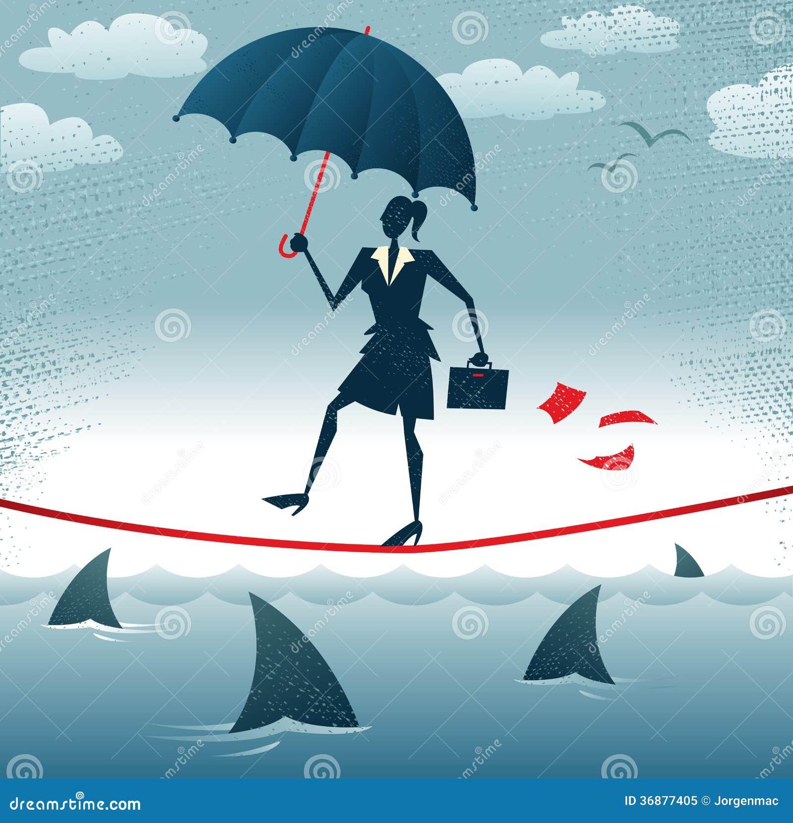 Download La Donna Di Affari Astratta Cammina Tightrope Con Confid Illustrazione Vettoriale - Illustrazione di pericoloso, brave: 36877405