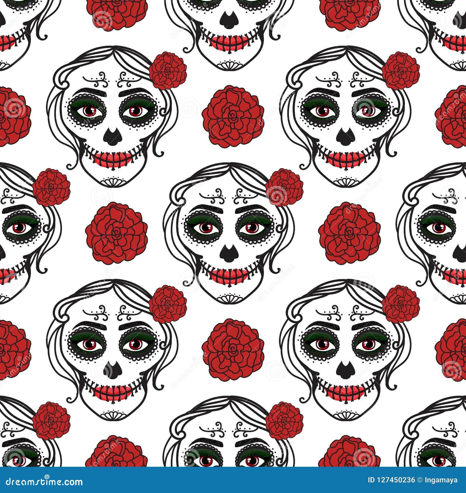 La donna di Catrina con compone del cranio dello zucchero Reticolo senza giunte Dia De Los Muertos Giorno messicano dei morti Vet