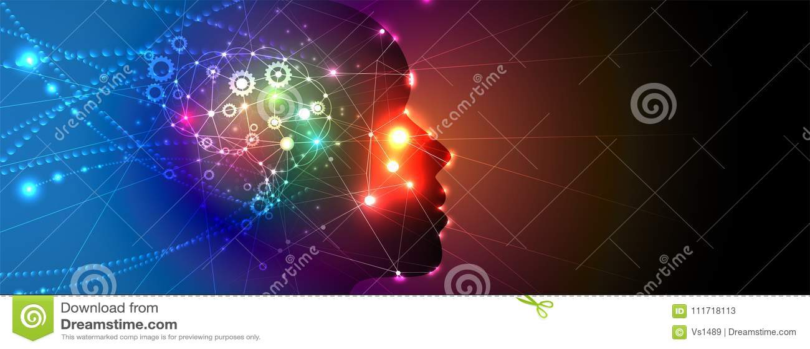 La donna di intelligenza artificiale con capelli gradisce la rete del neurone Fondo di web di tecnologia Concentrato virtuale
