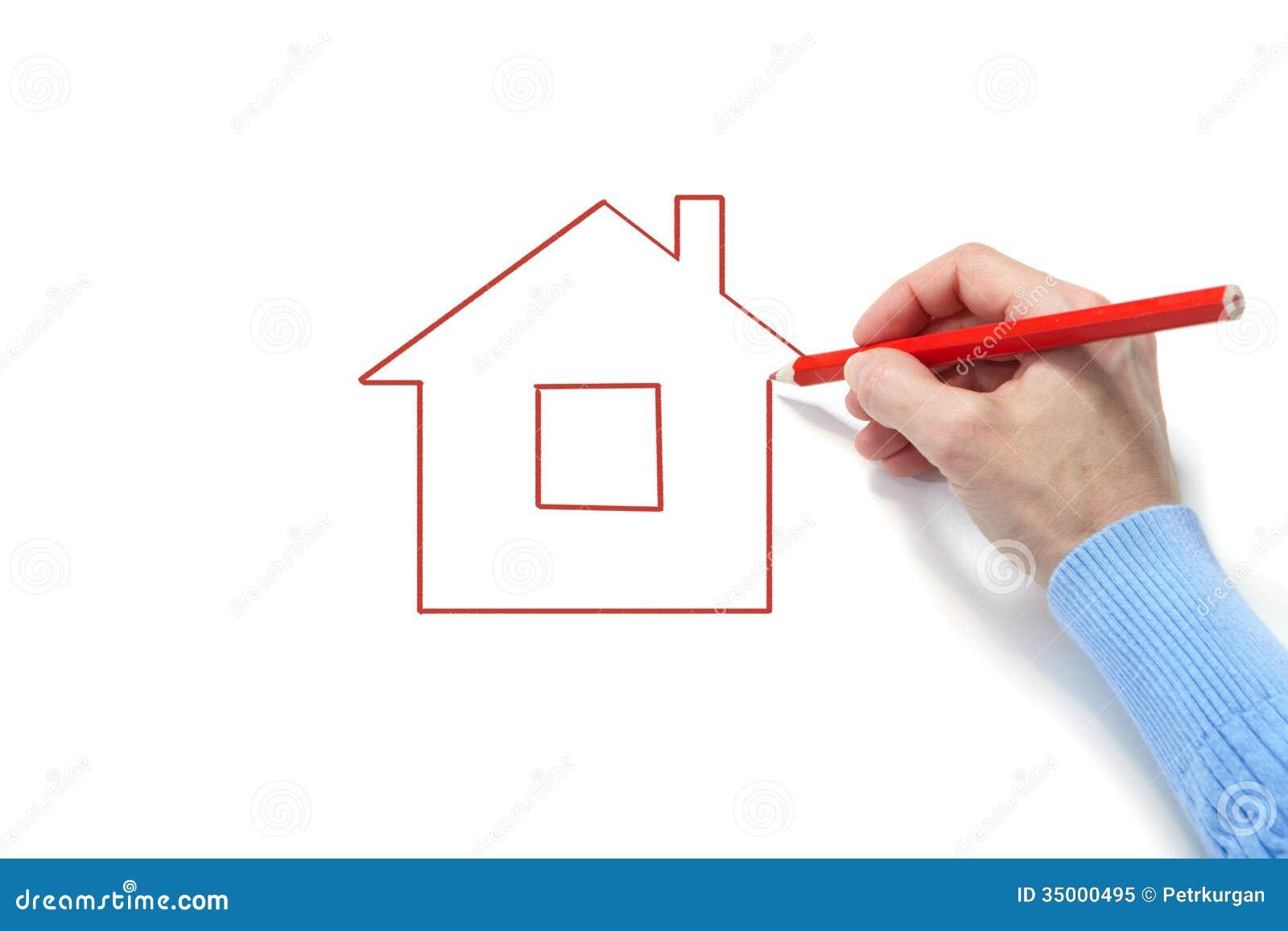 la donna disegna la casa fotografia stock libera da